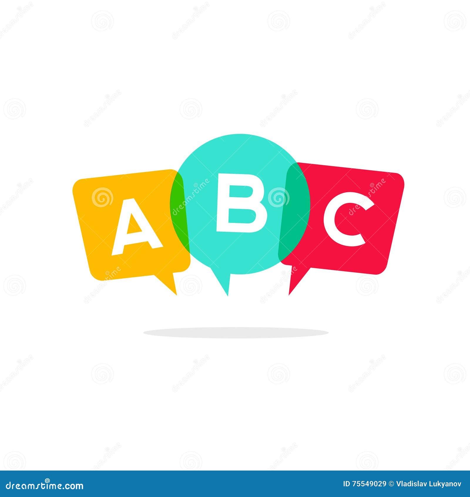 Aprenda el icono del vector de las letras de ABC, concepto de discurso del logotipo de la conversación del niño