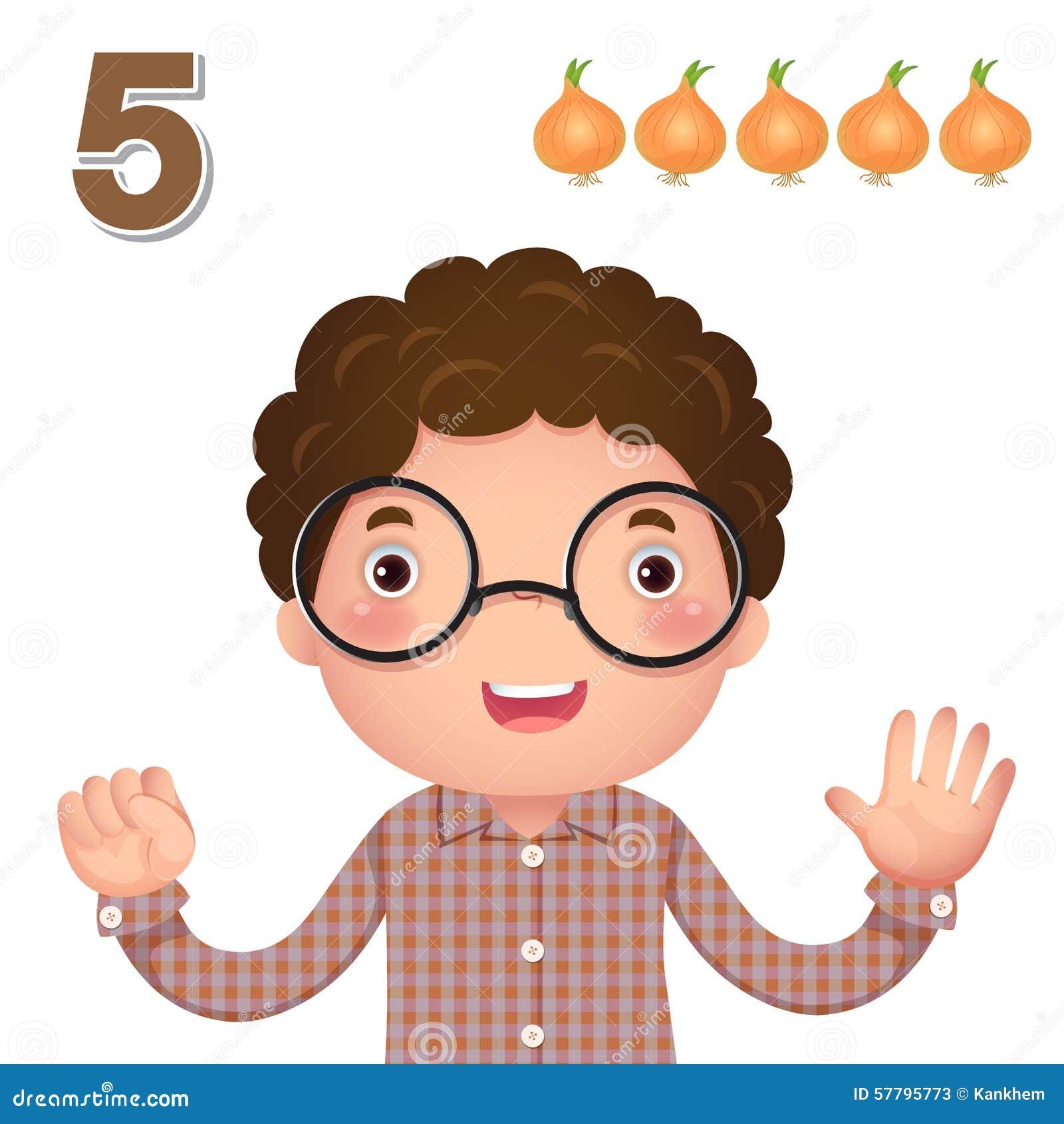 Aprenda el número y la cuenta con la mano de los kid's que muestra el número f
