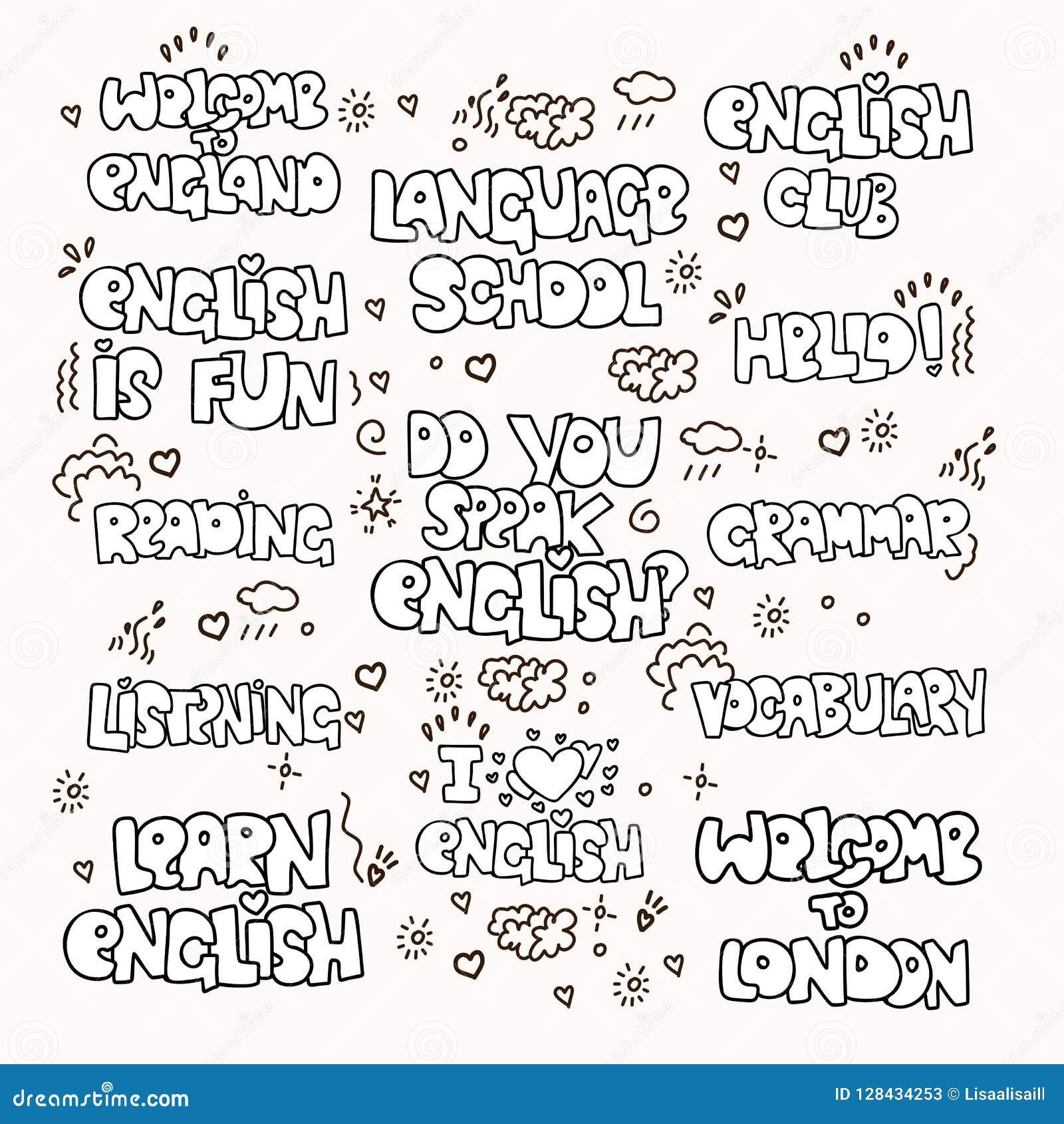 Aprendendo Frases E Palavras Preto E Branco Educacionais Inglesas