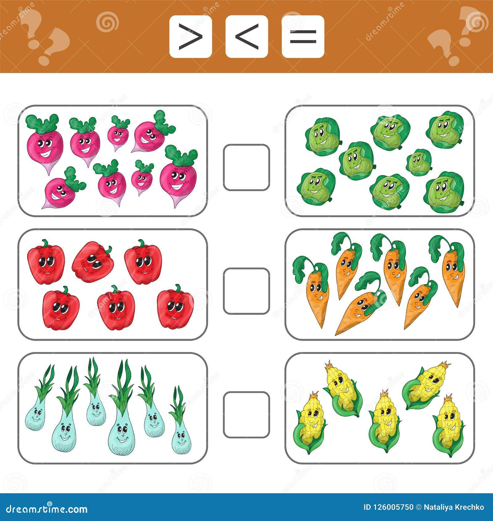 Aprendendo a matemática, números - escolha mais, menos ou igual Tarefas para crianças