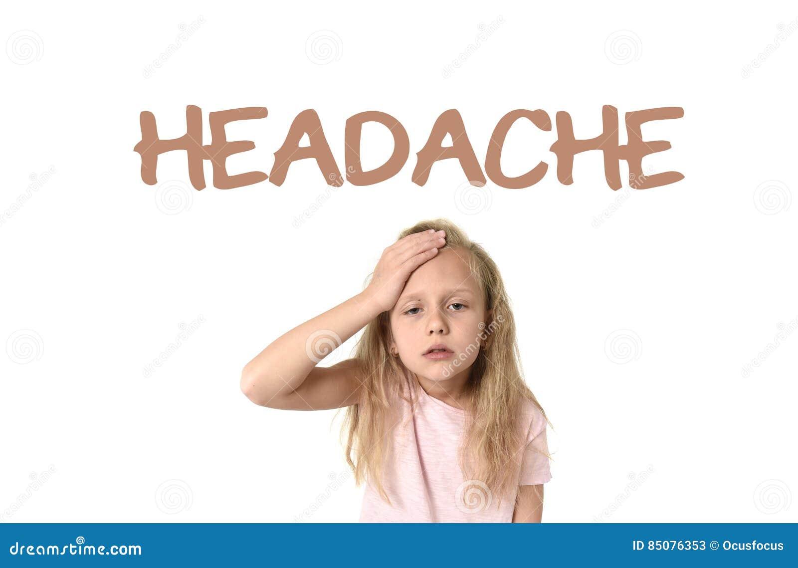 Aprendendo o vocabulário da língua inglesa eduque o cartão com a dor de cabeça da palavra