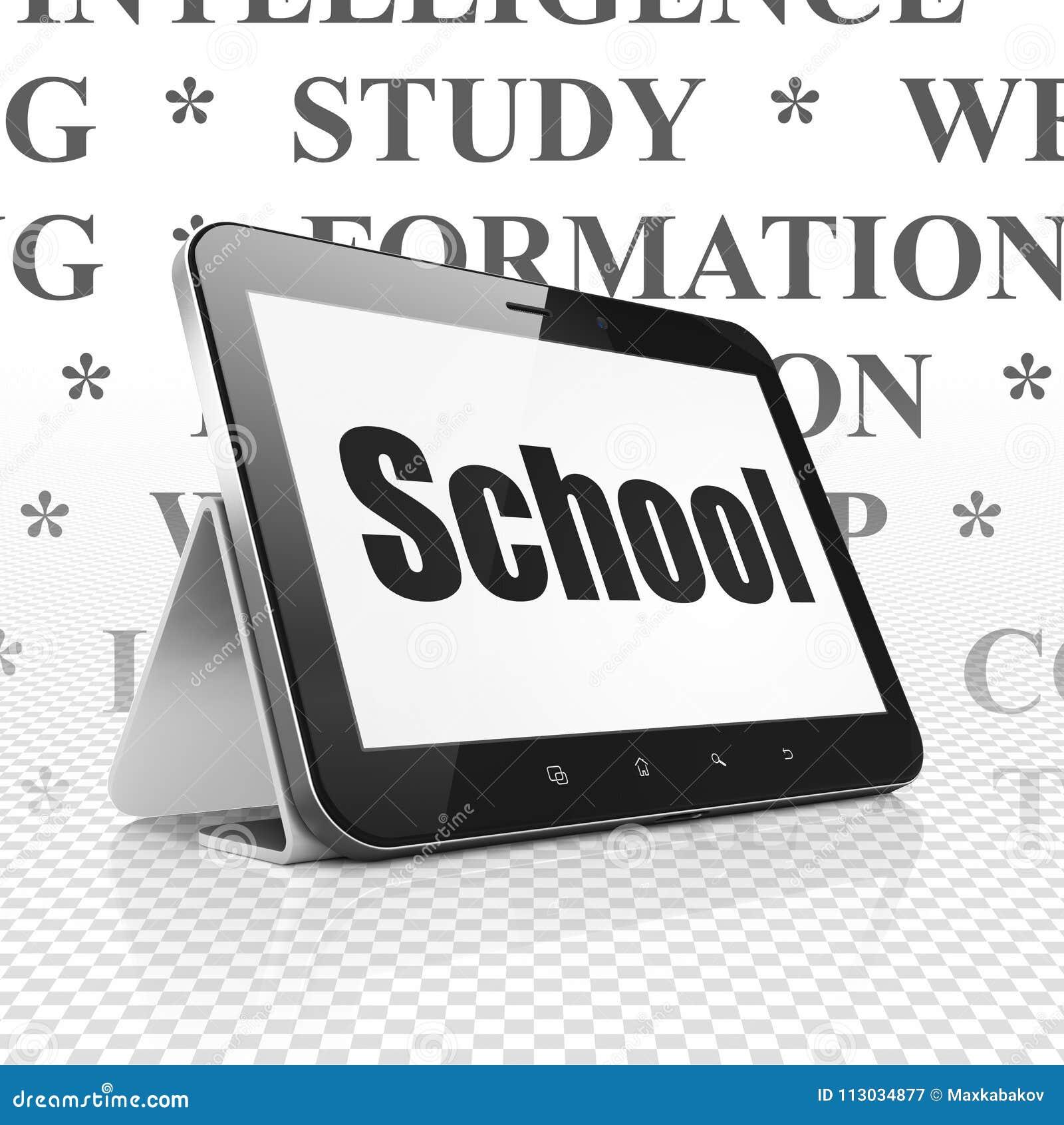 Aprendizaje de concepto: Tableta con la escuela en la exhibición