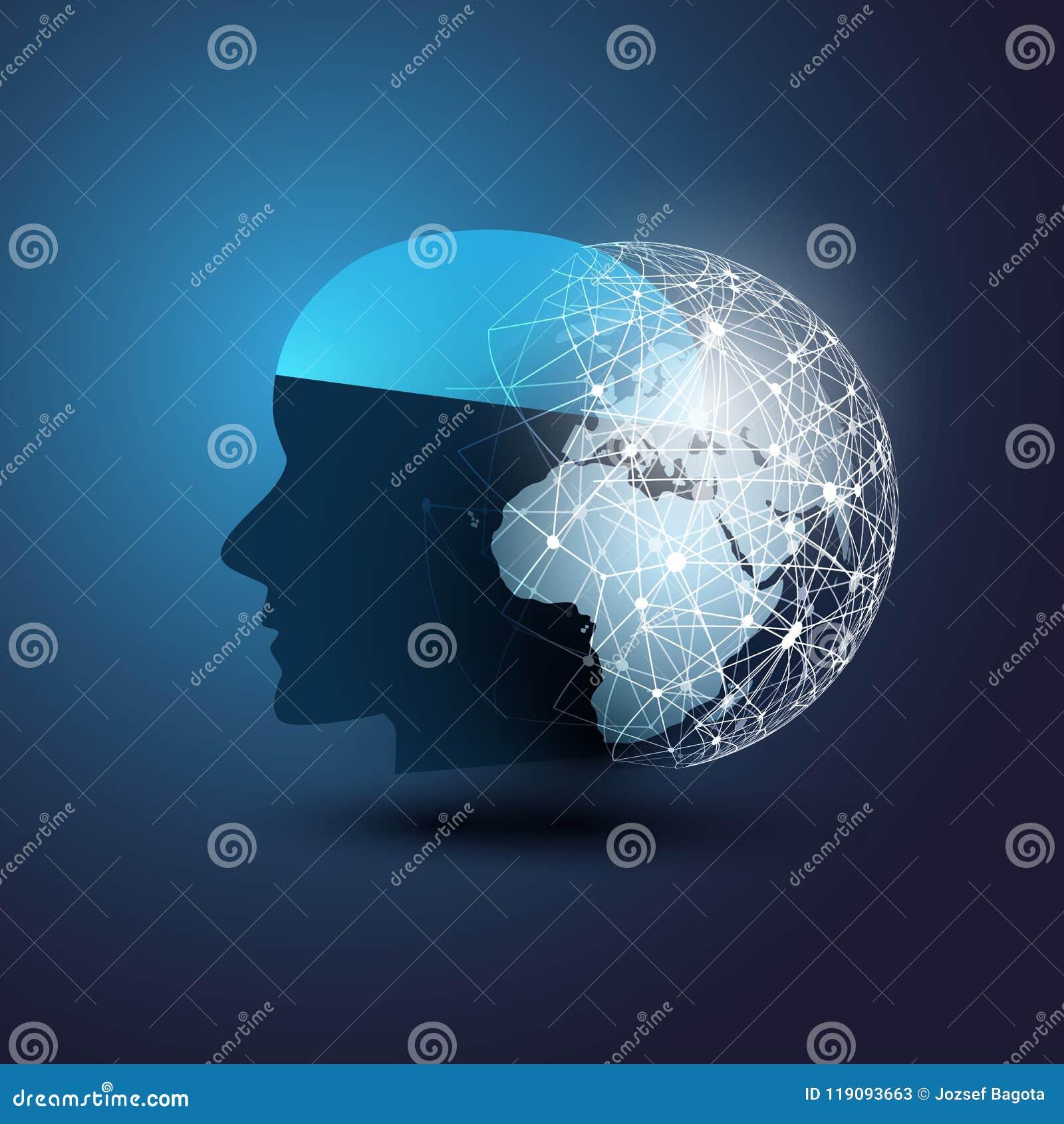 Aprendizaje de máquina, inteligencia artificial, nube que computa, ayuda de ayuda automatizada y concepto de diseño de redes