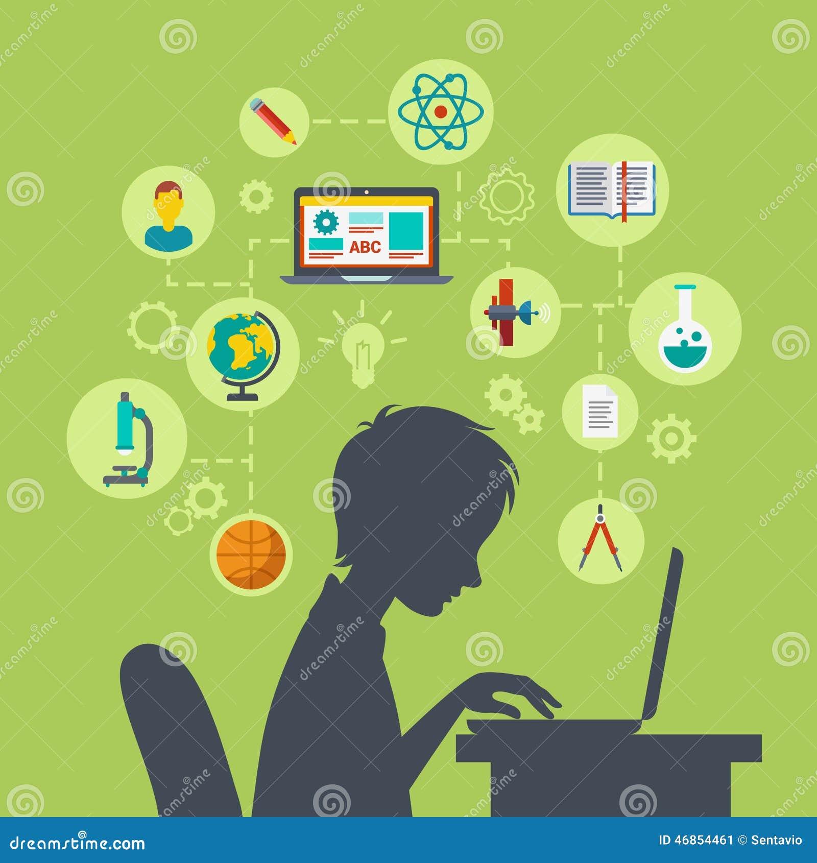 Aprendizaje electrónico infographic del web plano, concepto en línea de la educación