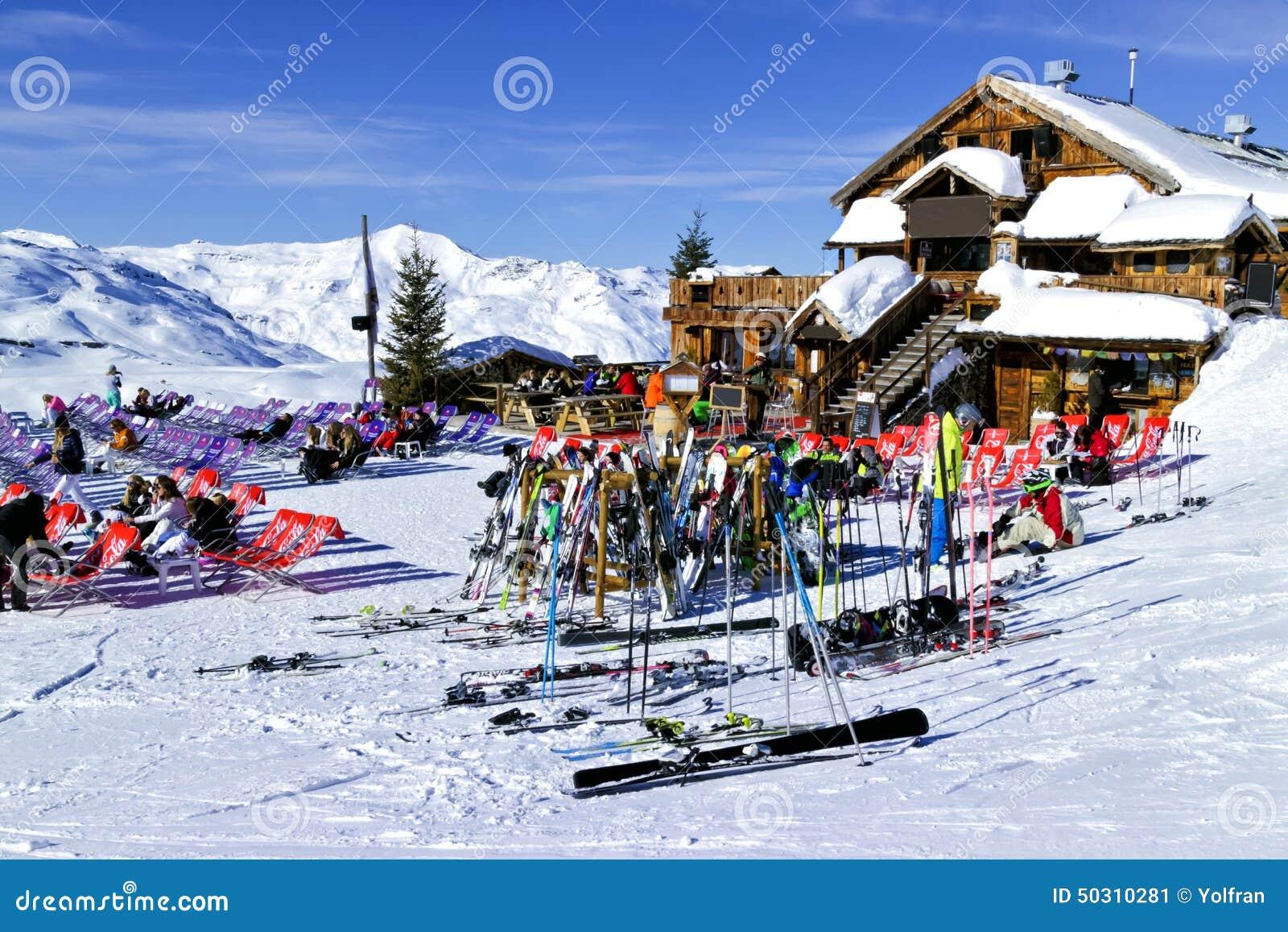 Apres Ski In A Mountain Chalet Bar Restaurant Against