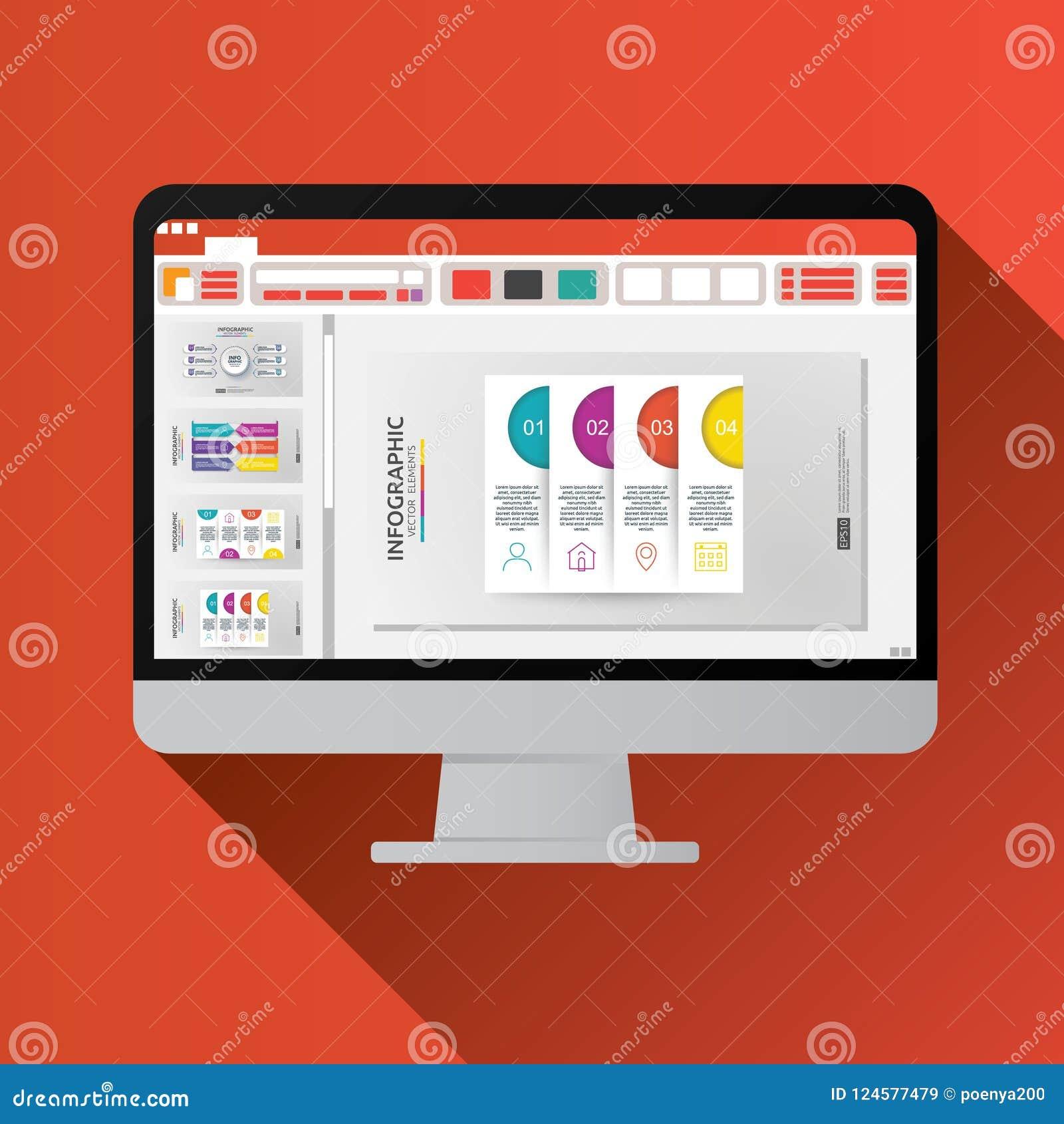 Apresentação de corrediça no ícone liso do tela de computador Conceito dos relatórios comerciais coisas do escritório para planea