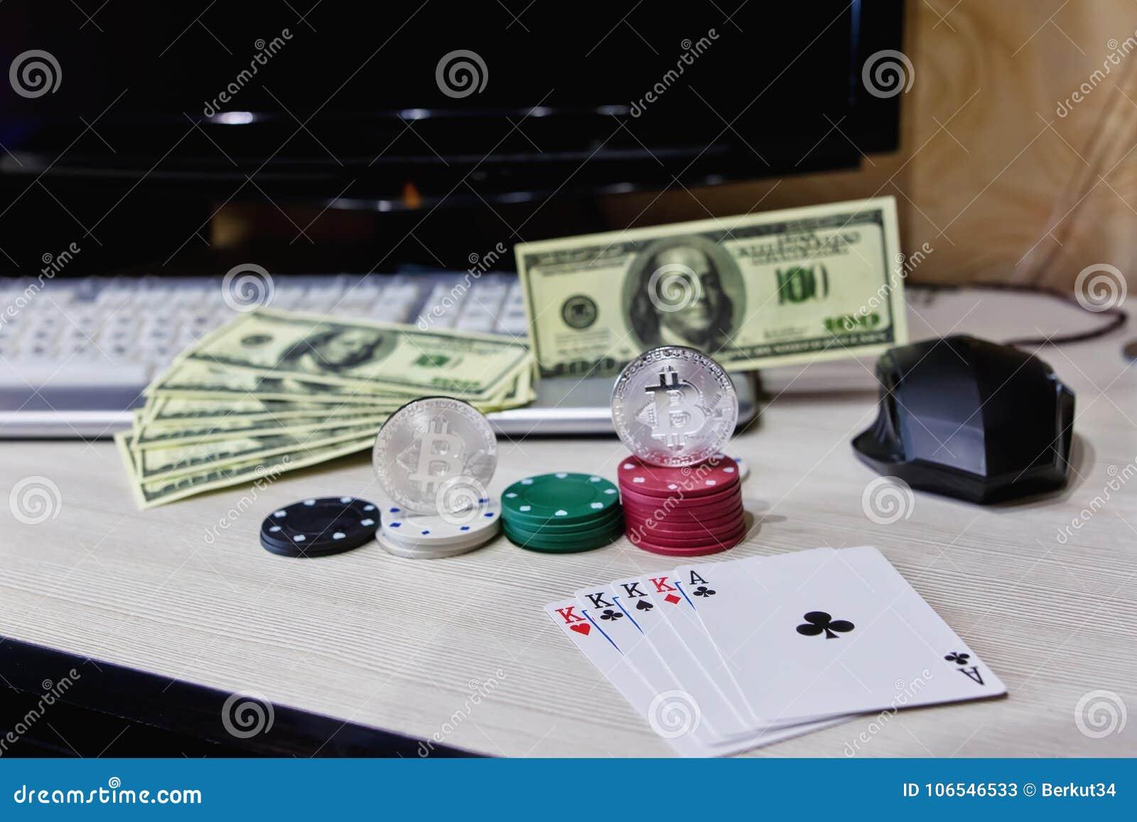 Apresente microplaquetas em linha do casino do jogador, cartões e invente o cryptocurrency