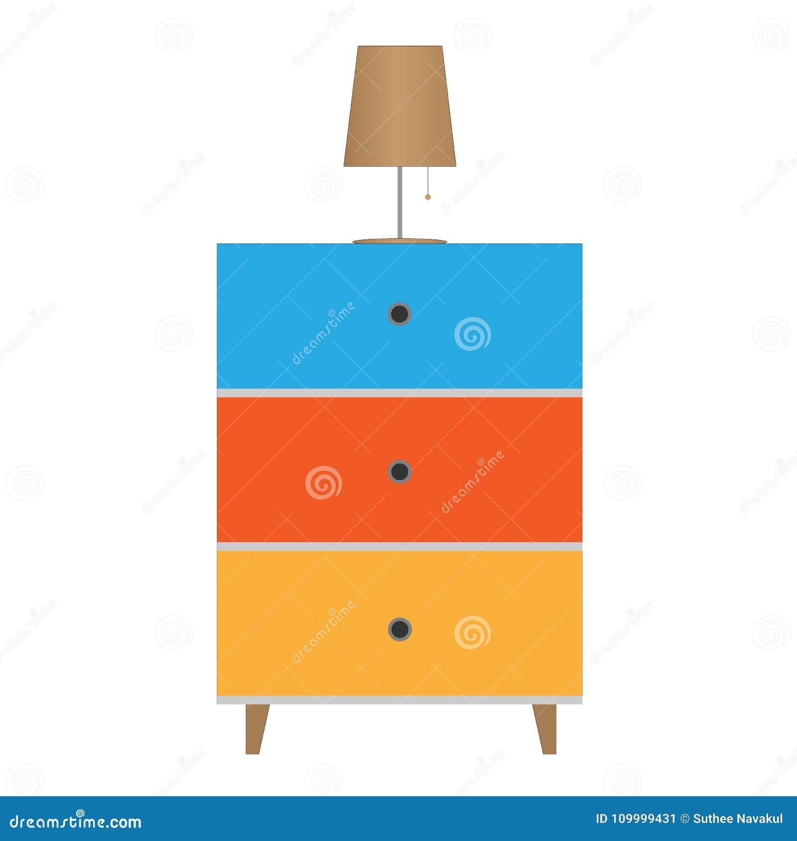 Apresente o ícone da mobília e da lâmpada no fundo branco