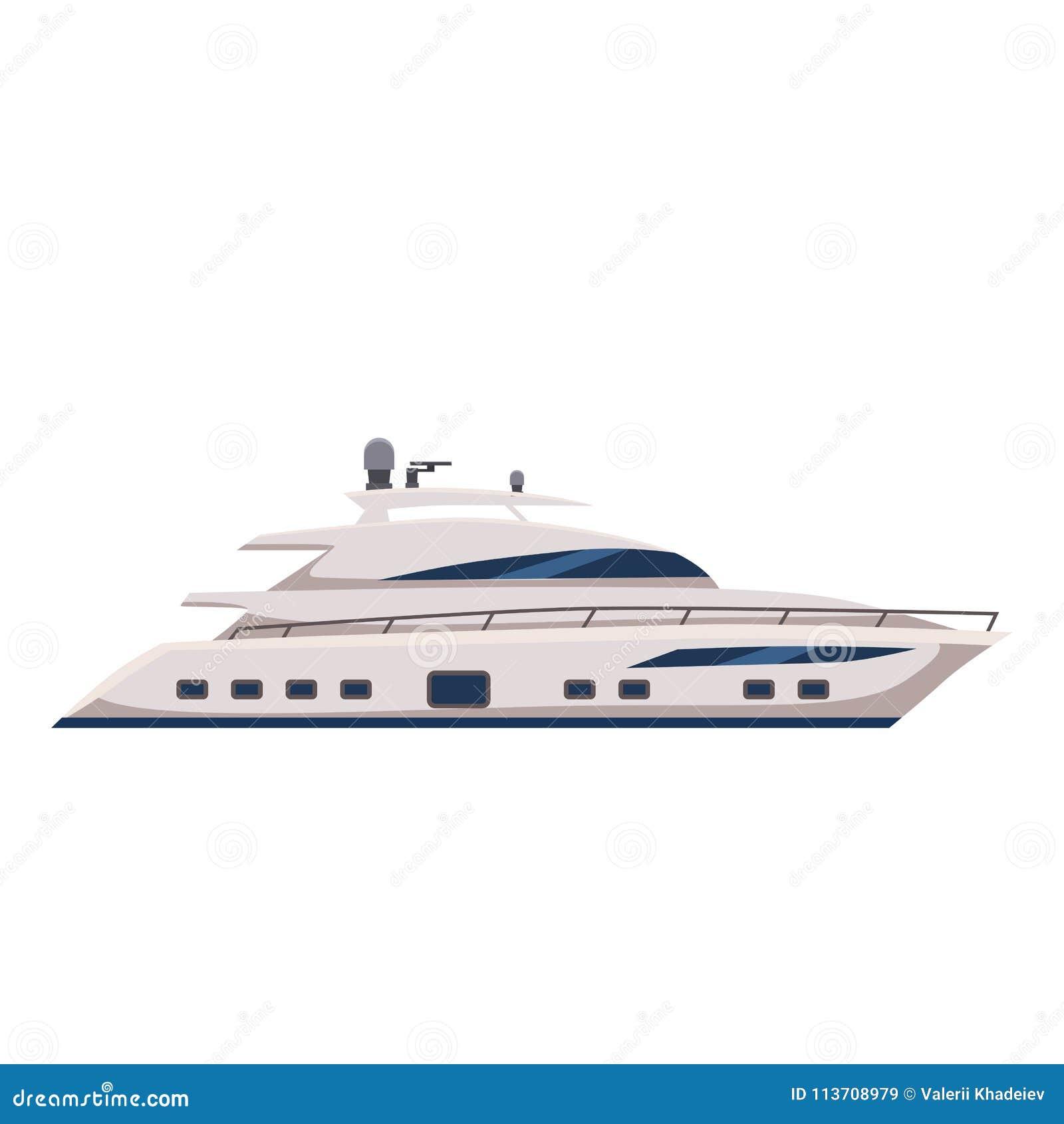 Apresse o barco, iate, estilo dos desenhos animados, ilustração do vetor, isolada