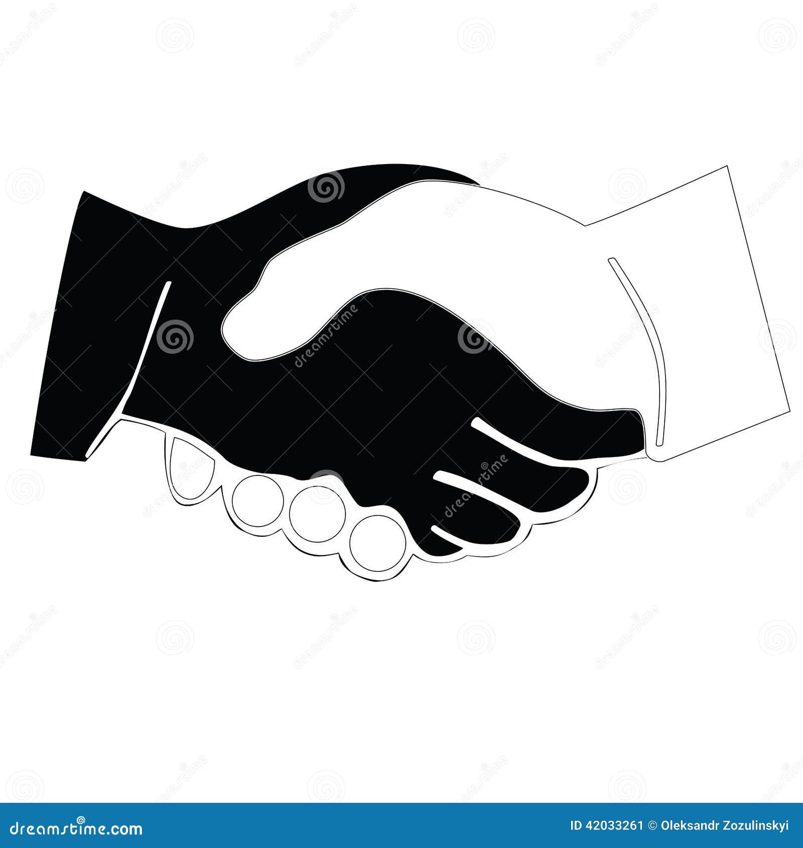Apretón de manos blanco y negro del icono trama
