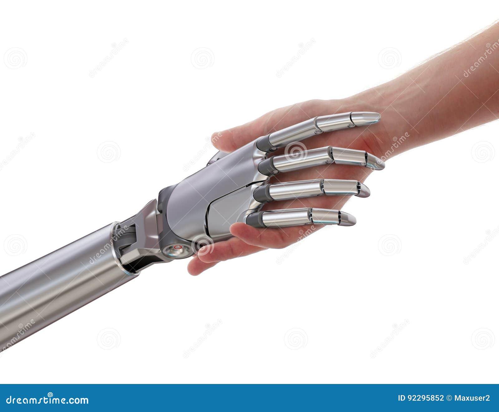 Apretón de manos del ser humano y del robot aislado en el ejemplo blanco del fondo 3d