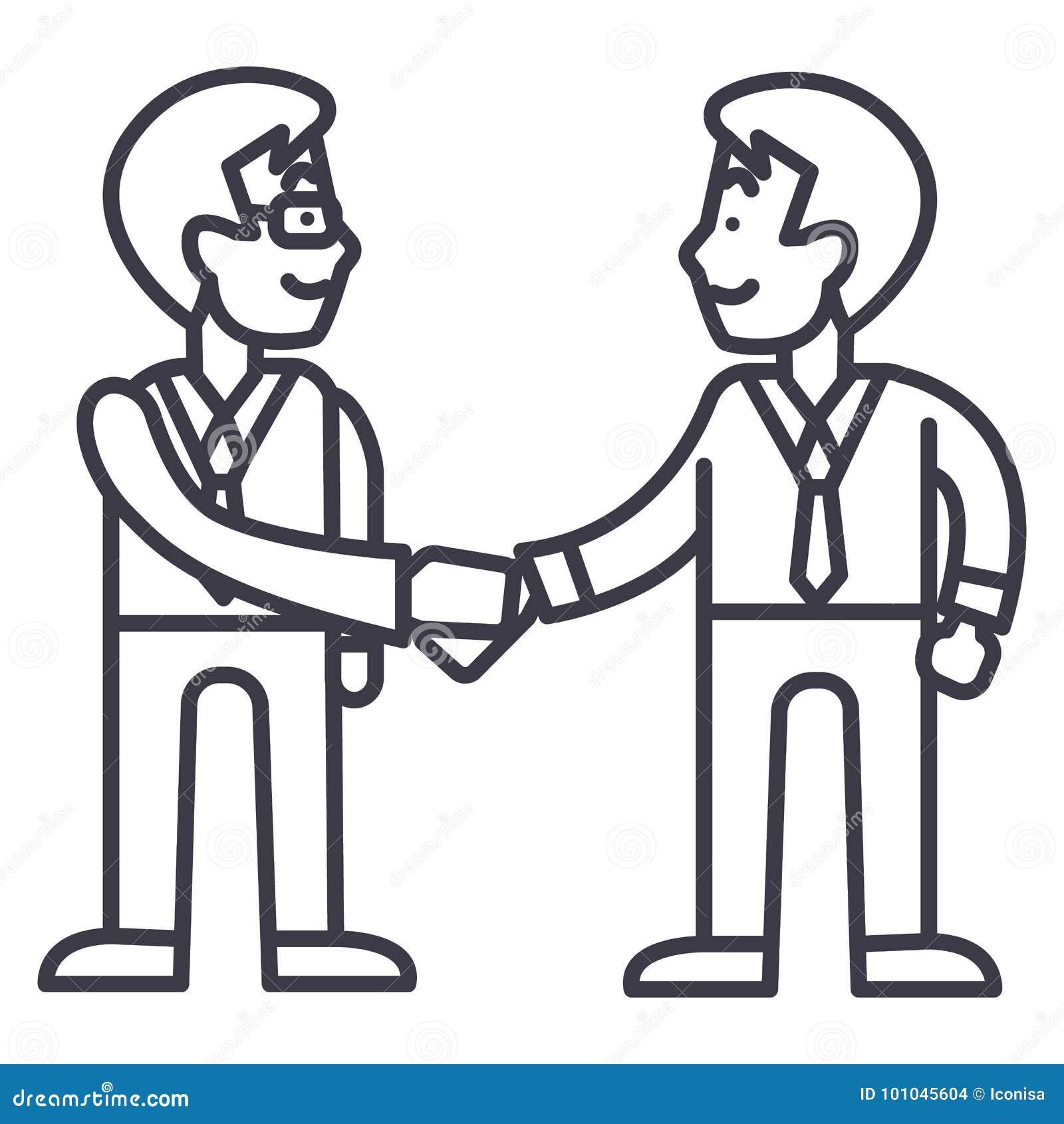 Apretón de manos de los hombres de negocios, línea icono, muestra, ejemplo del vector de la sociedad en el fondo, movimientos edi
