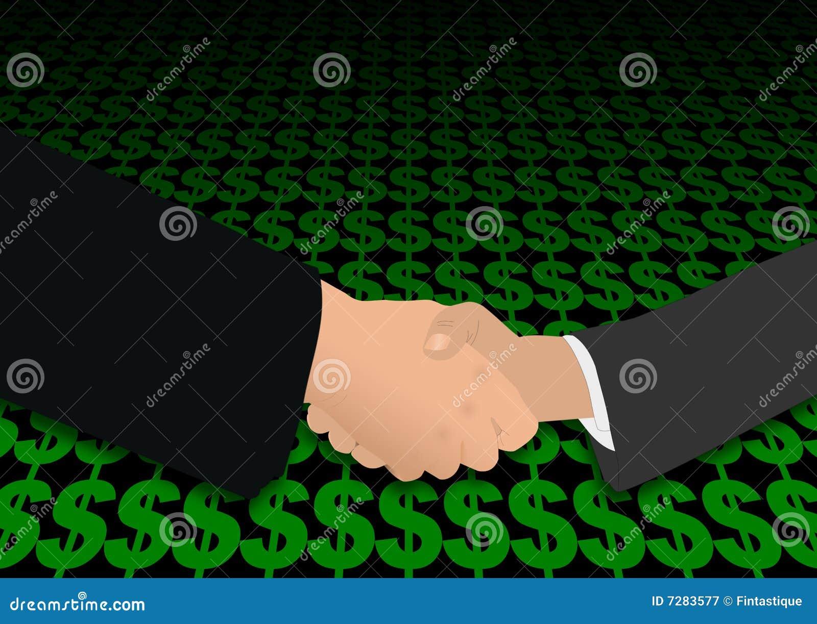 Apretón de manos sobre símbolos del dólar