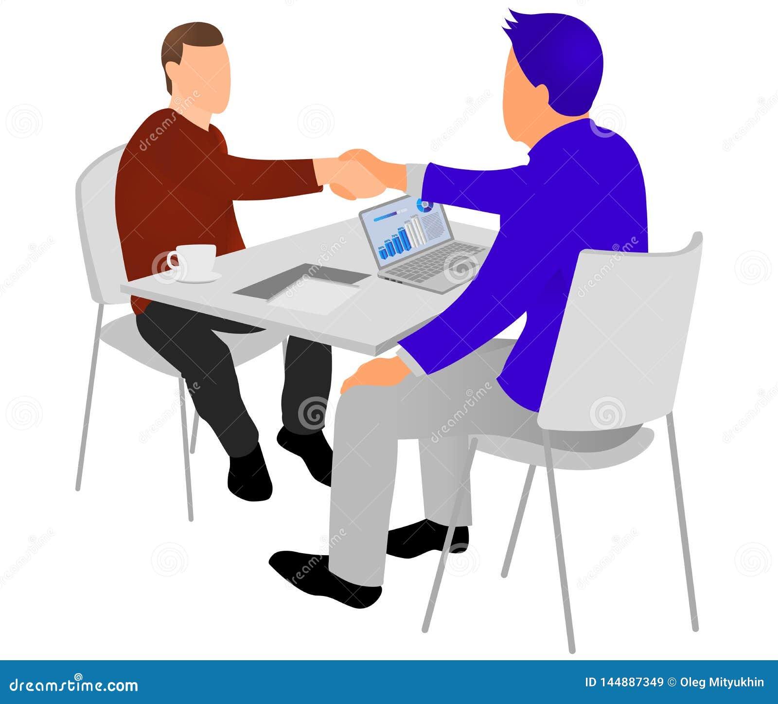 Apret?n de manos de los empresarios despu?s de la negociaci?n o de la entrevista en la oficina Concepto productivo de la sociedad