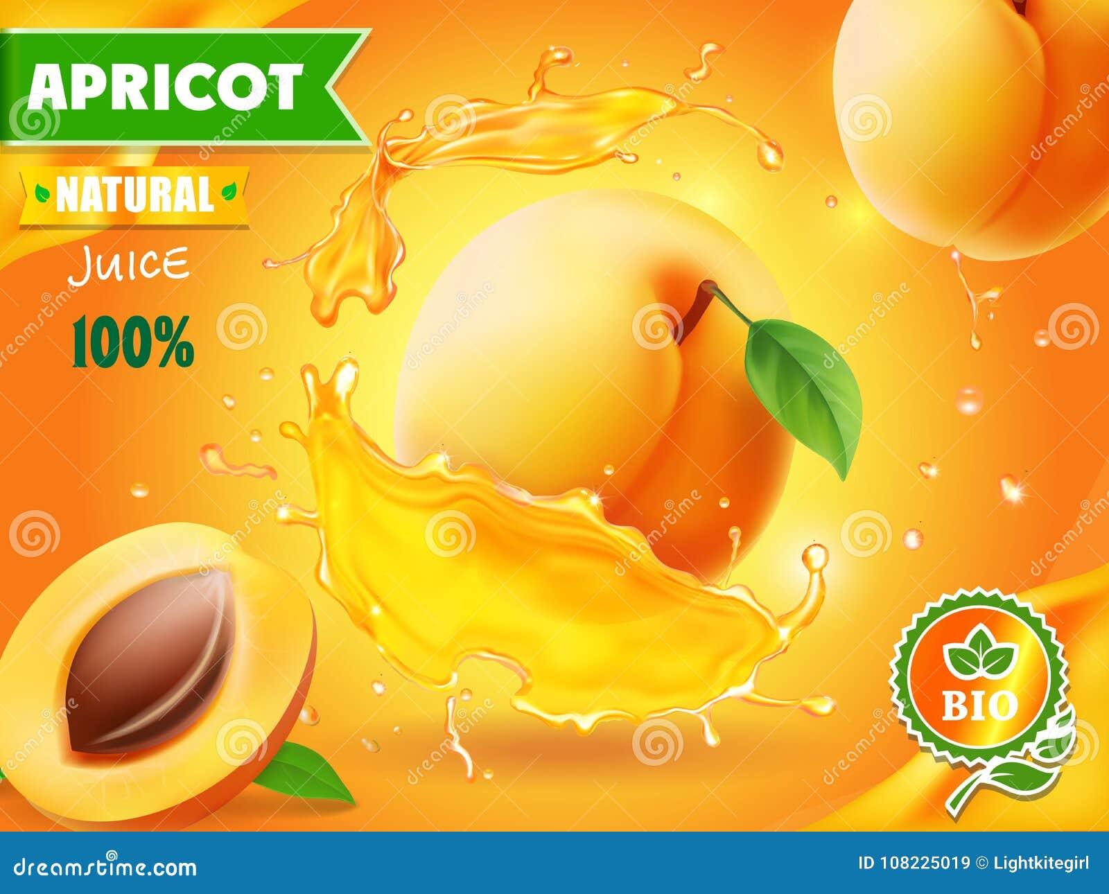 Apricot Fruit In Juice Splash Advertising Poster Stock ...