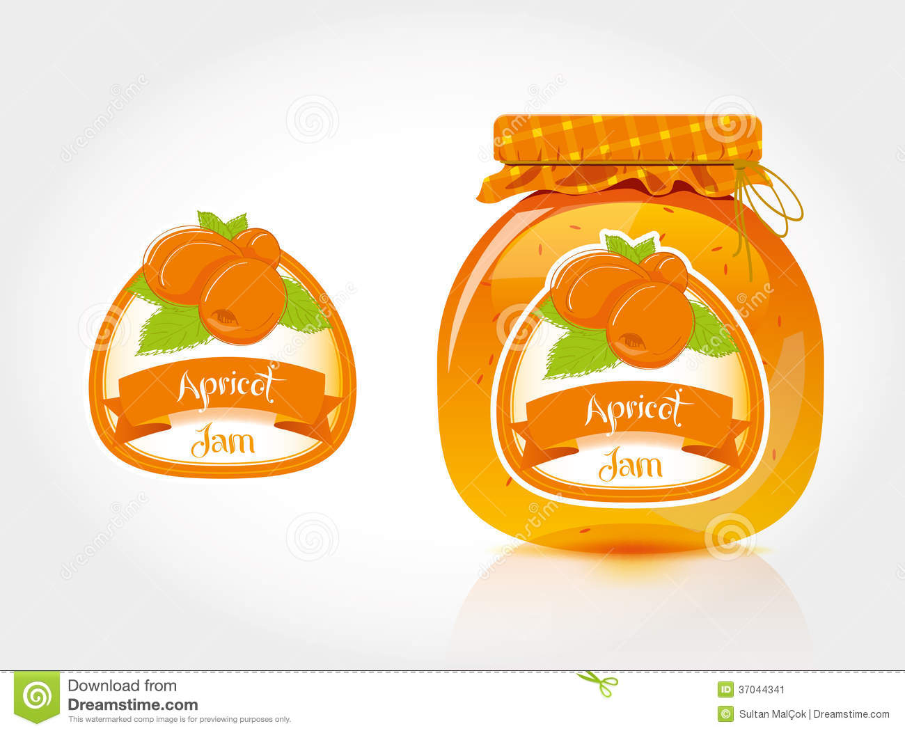 apricot jam label with jar stock vector illustration of fruit