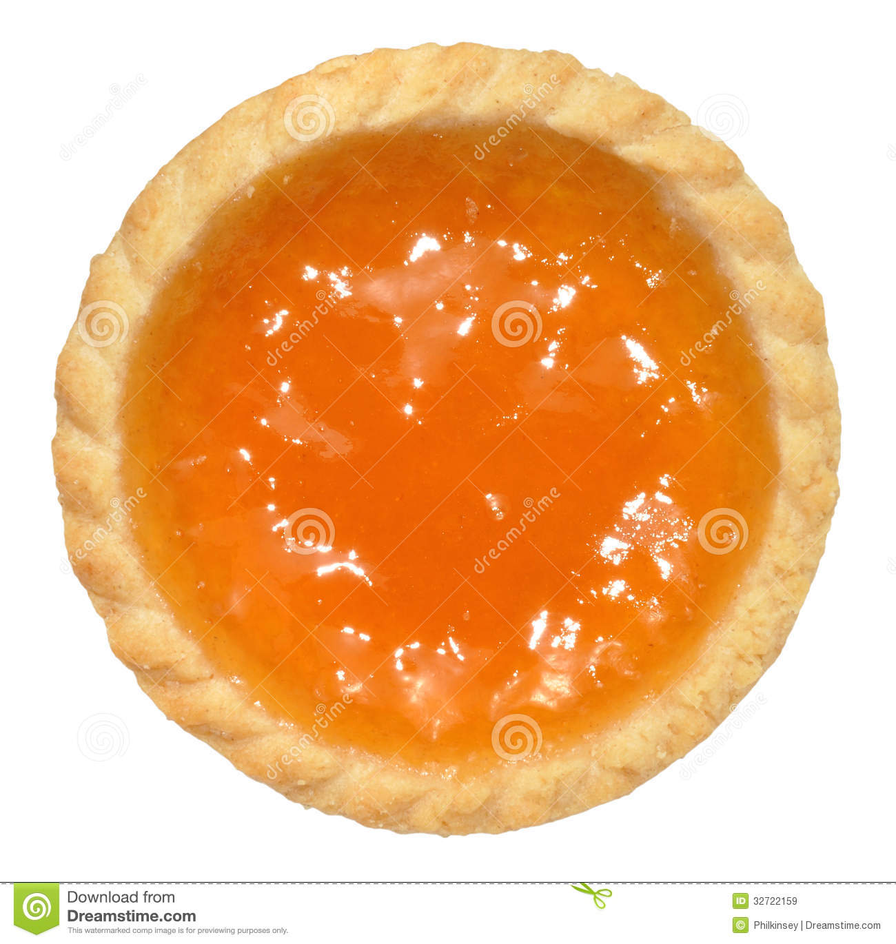 single apricot jam filled tart isolated on a white background.