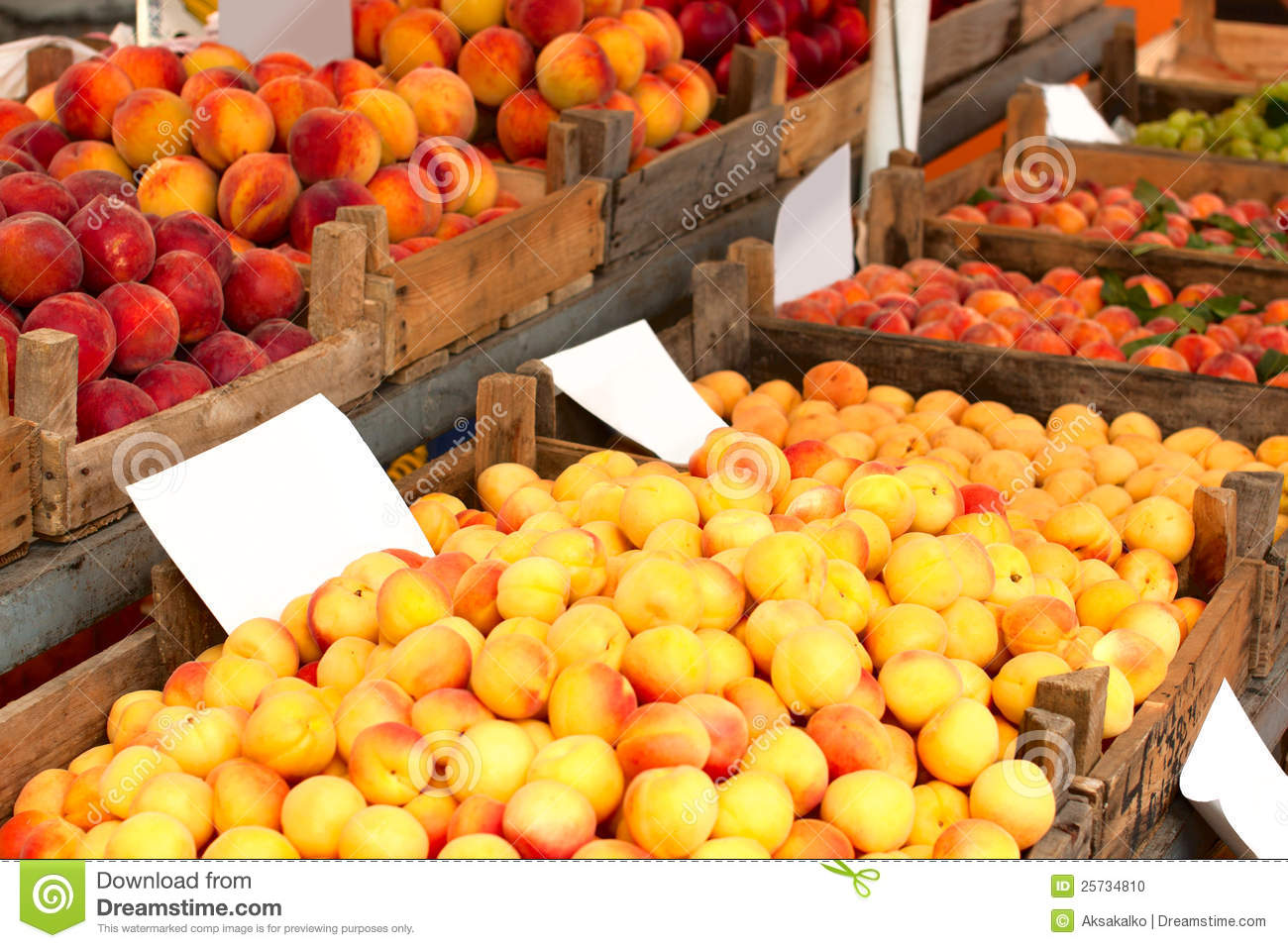 Apricots and peaches at a market