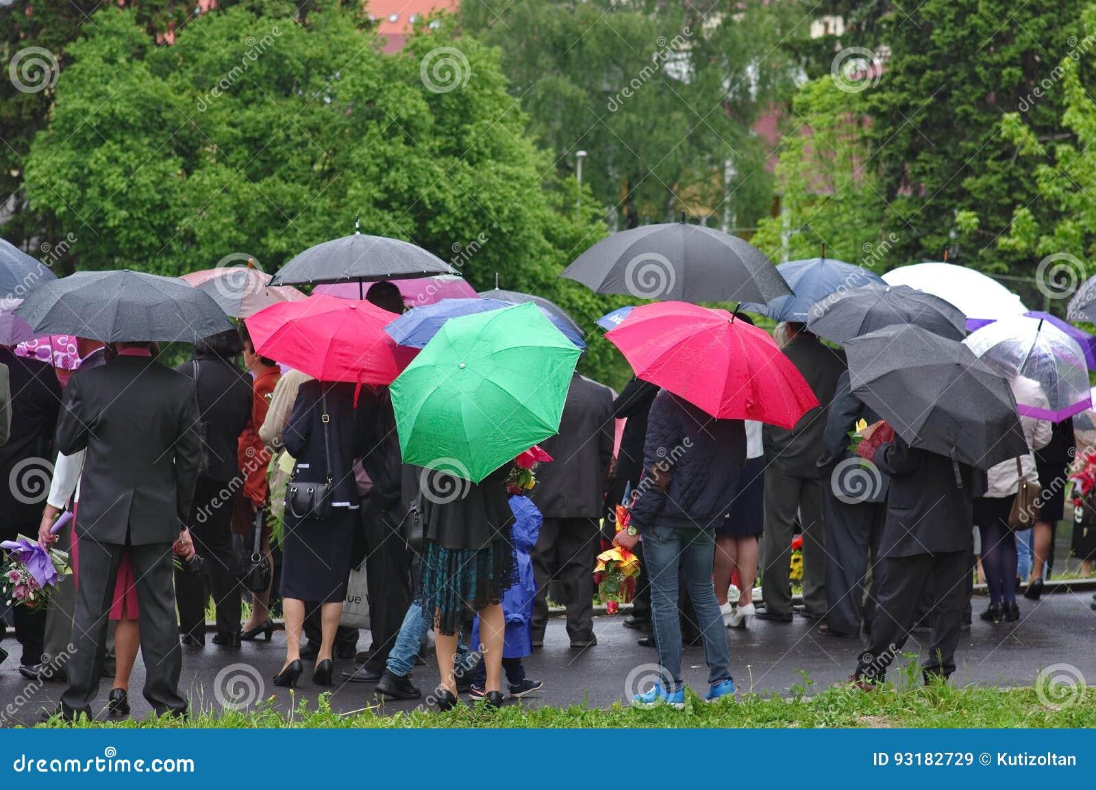 Apriete con los paraguas y flowersin del multicololr la lluvia