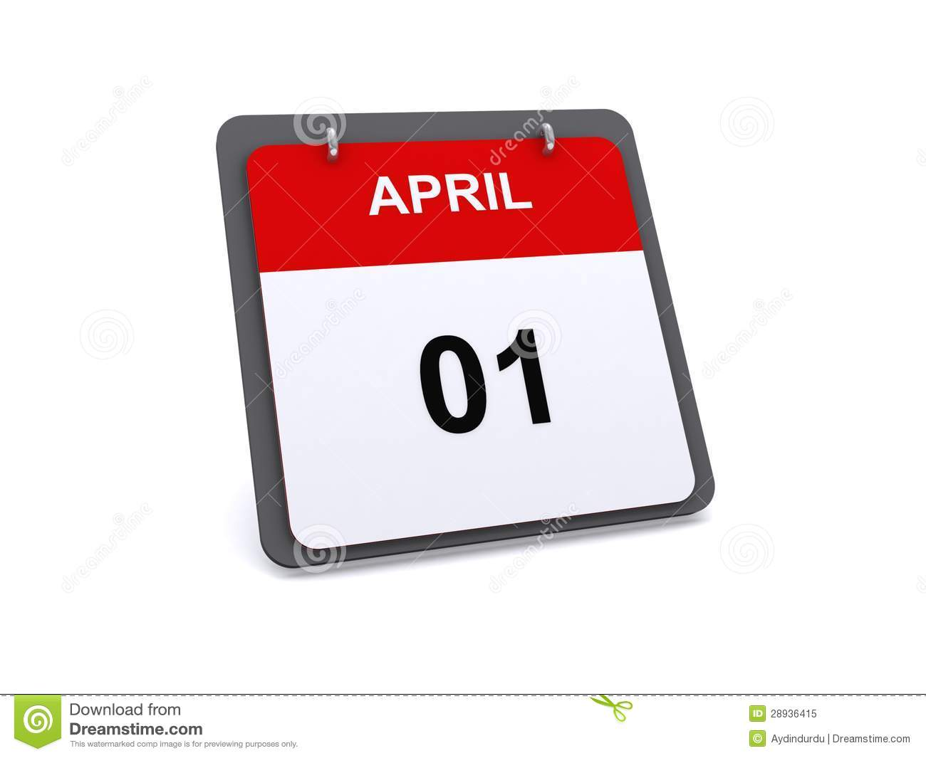 Xs Calendar April : April st day on calendar stock illustration