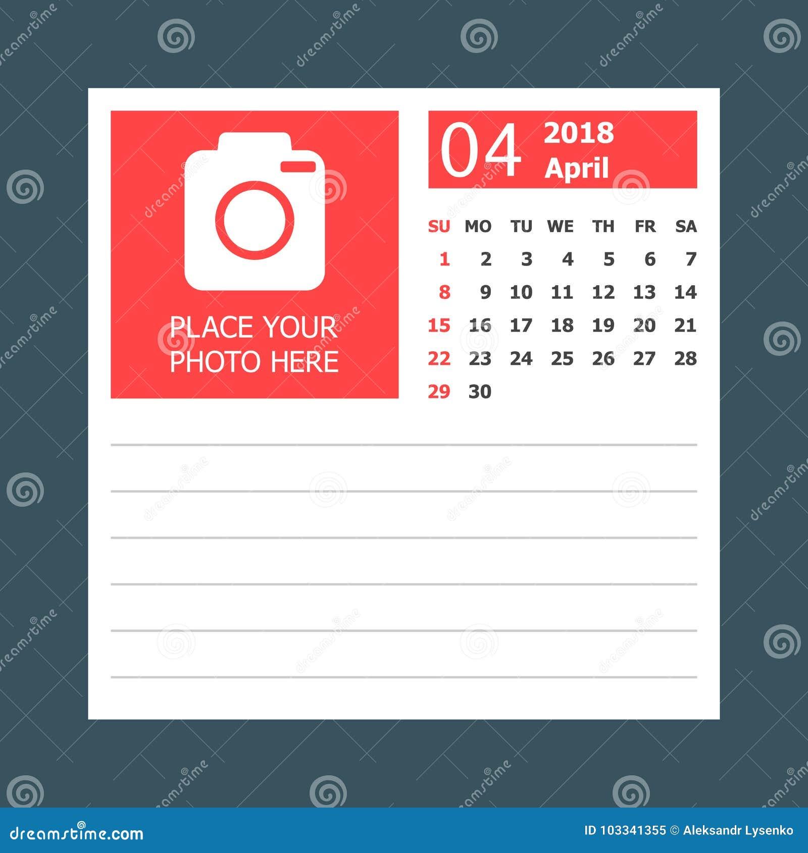 april 2018 calendar calendar planner design template week star