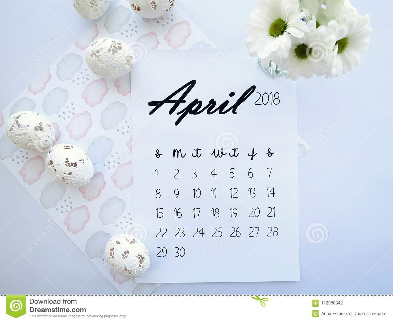 april 2018 calendar easter eggs and white flowers