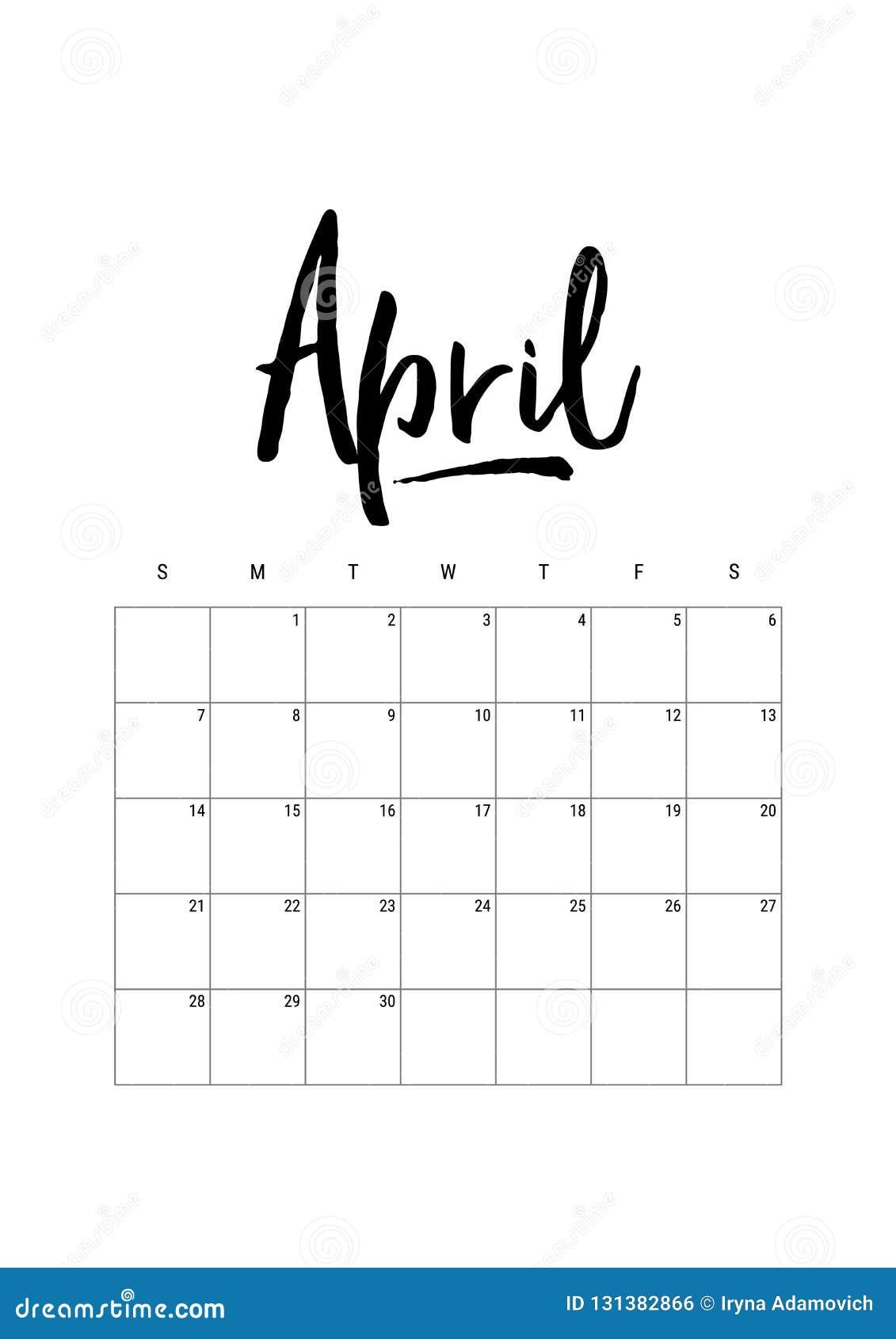 April Calendar Planner 2019 Week Starts On Sunday Part Of Sets Of