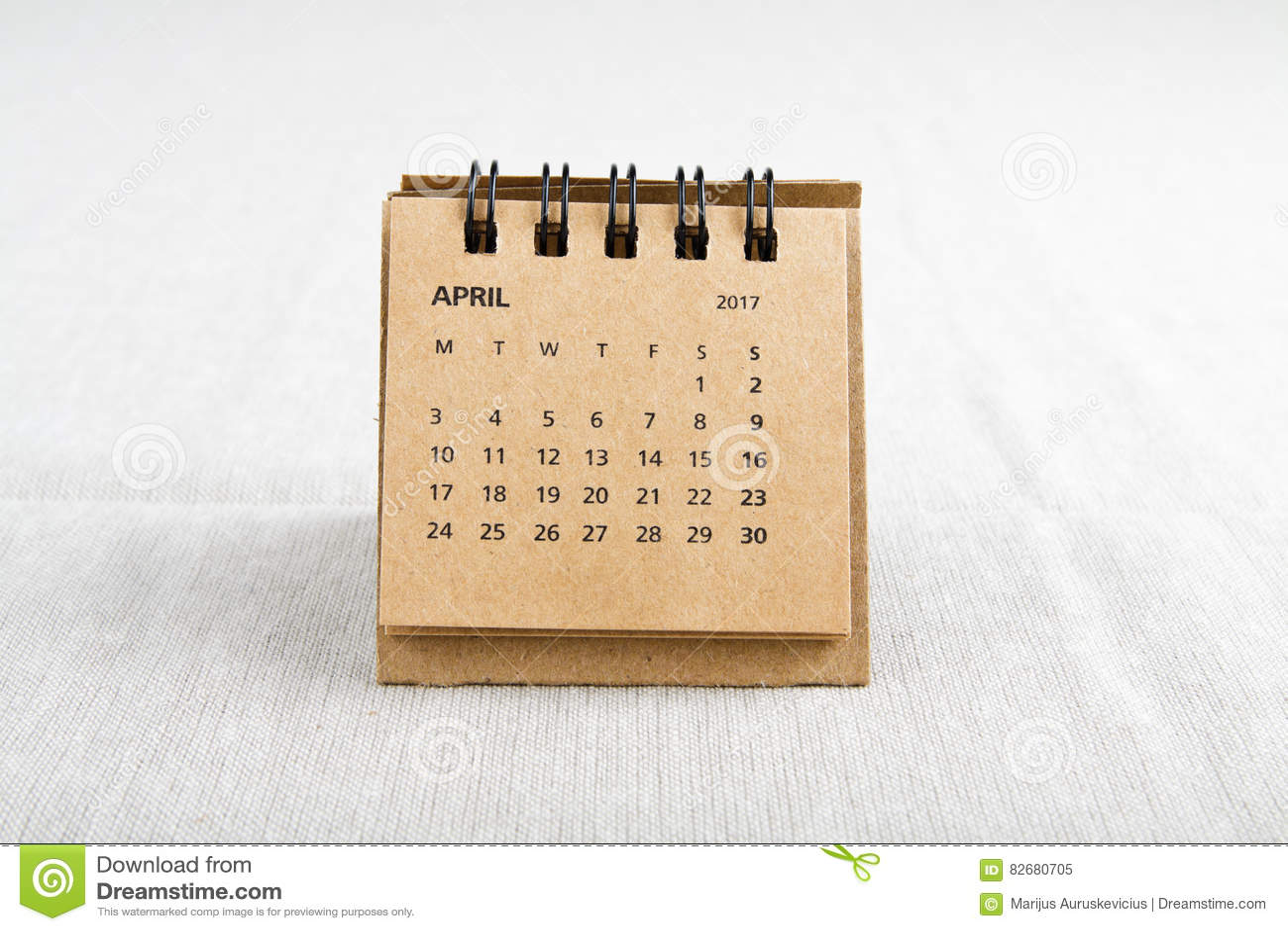 April. Calendar sheet.