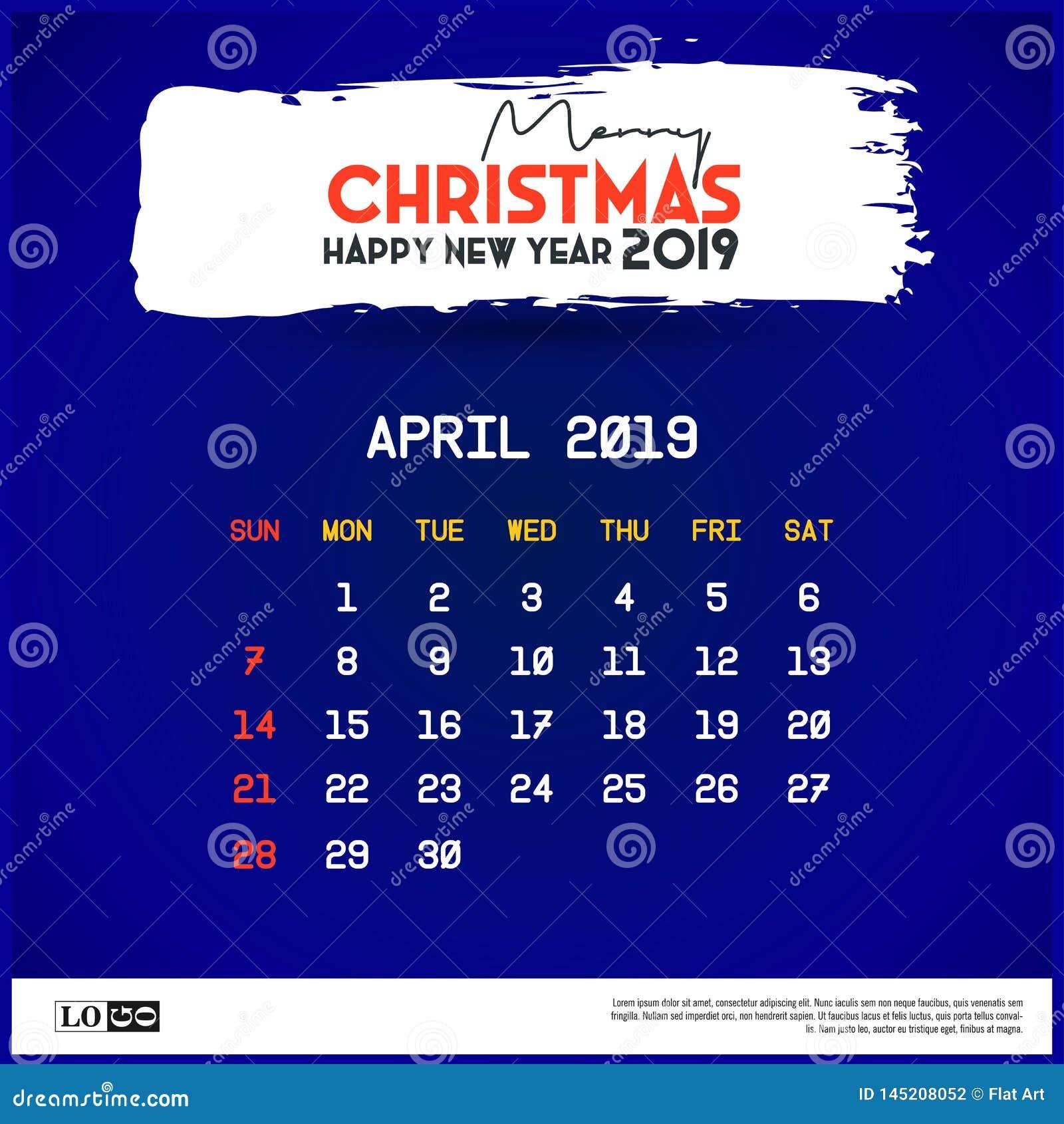 April Calendar Template 2019 Fondo del azul de la Feliz Navidad y de la Feliz A?o Nuevo