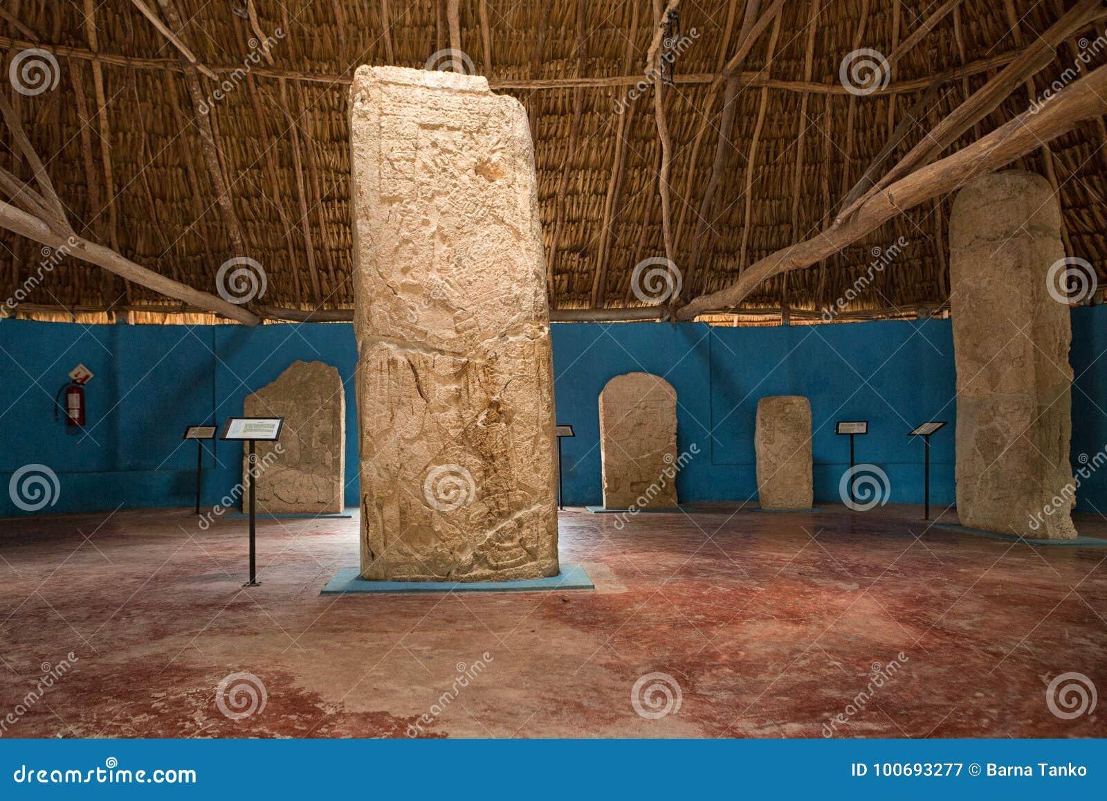 Mayan stelae at Edzna Mexico