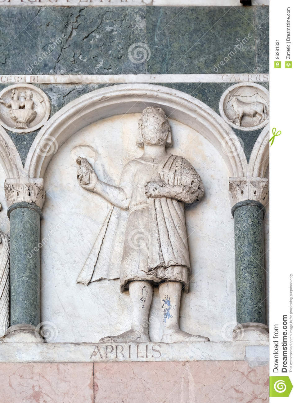 April, detail of the bass-relief representing the Labor of the months of the year, Cathedral in Lucca, Italy