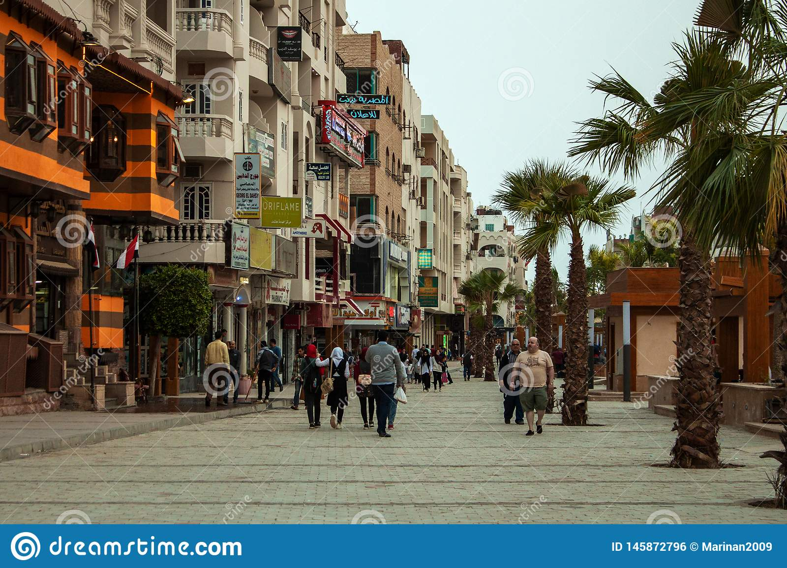 April 2018, Egypt, Hurghada. Sherry Street in Hurghada. April 2018 Egypt Hurghada. New Sherry Street in Hurghada royalty free stock image