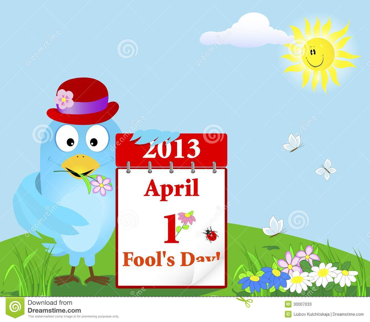 Calendar April Fools : April fools day blue bird with the calendar stock photos