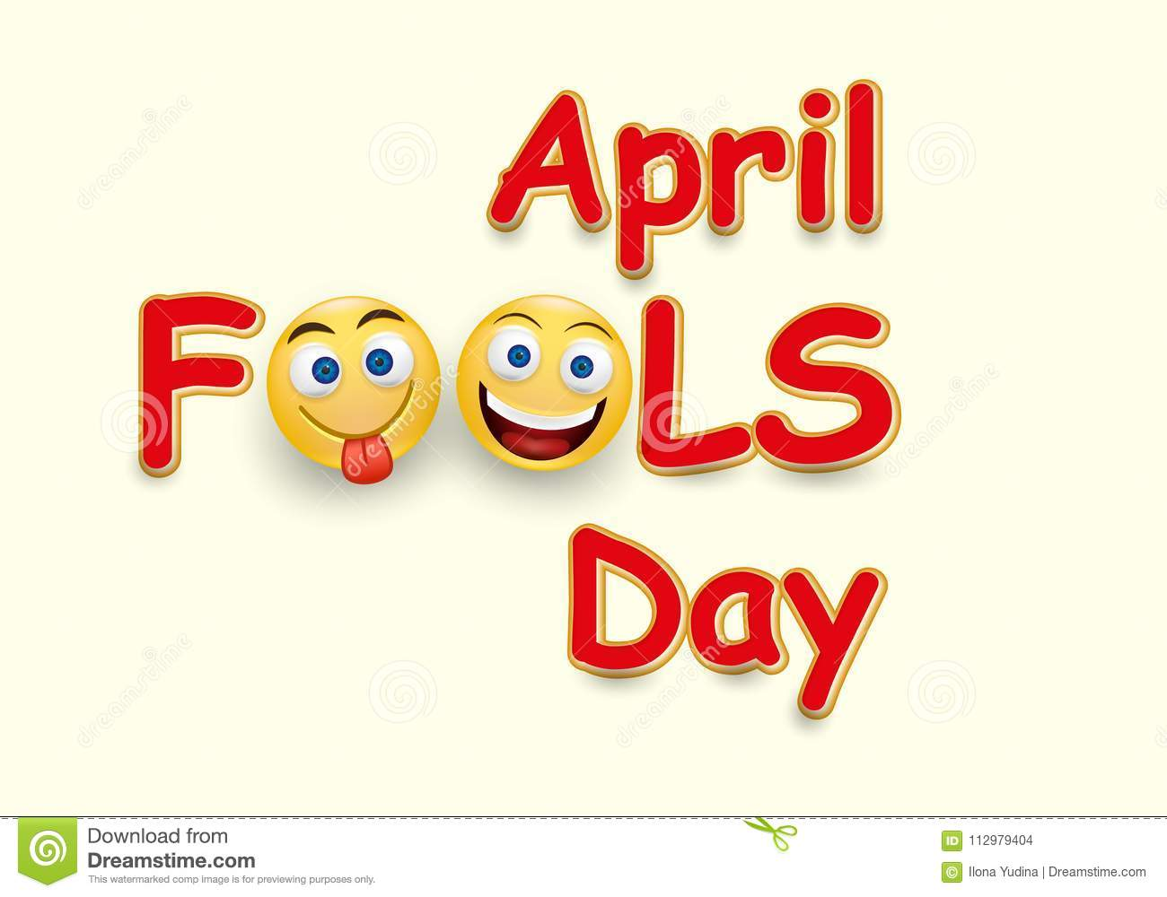 April fool`s day card - crazy facial expression on yellow background - April fool`s design template