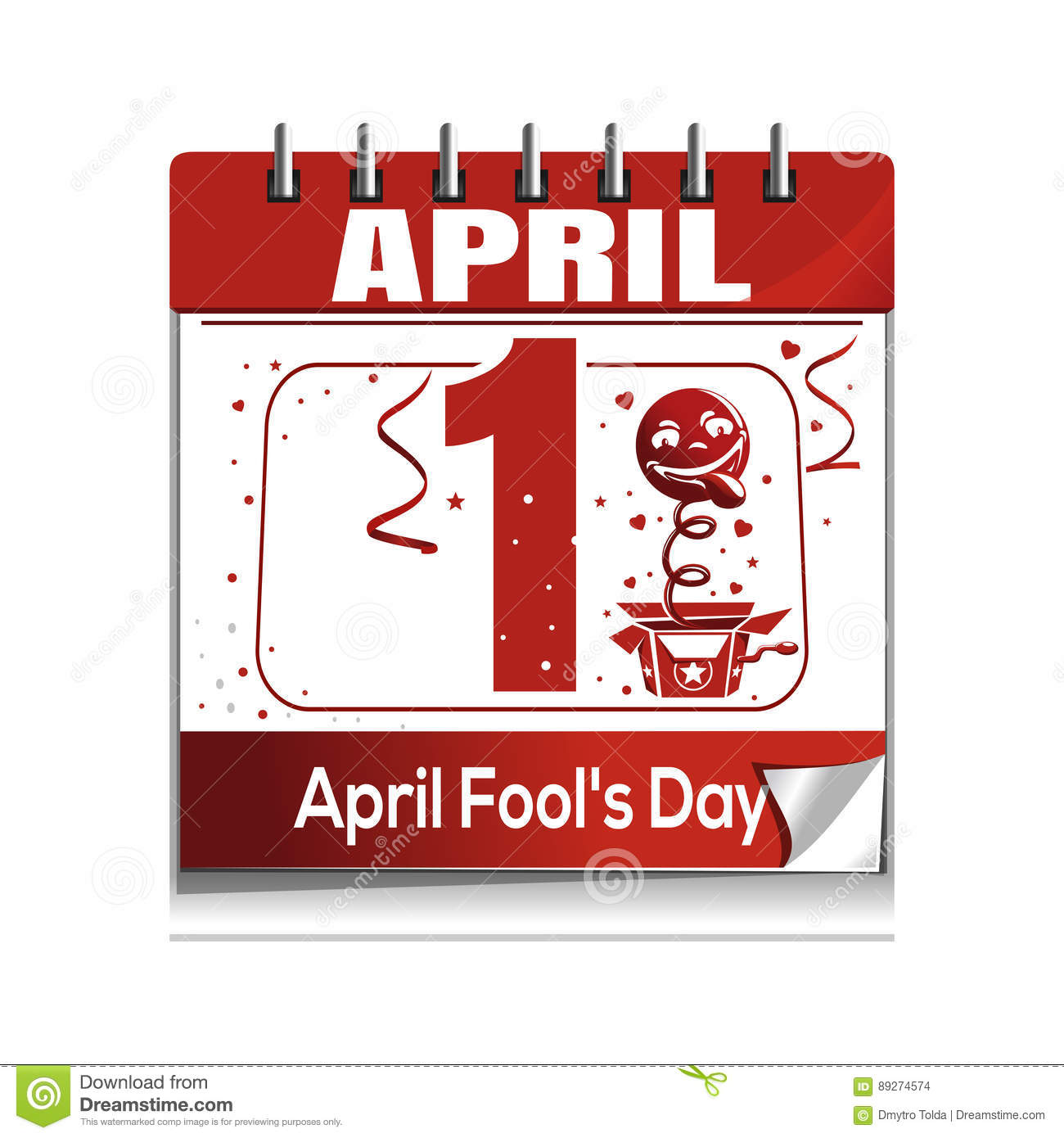Xs Calendar April : April fools day daily calendar icon stock vector