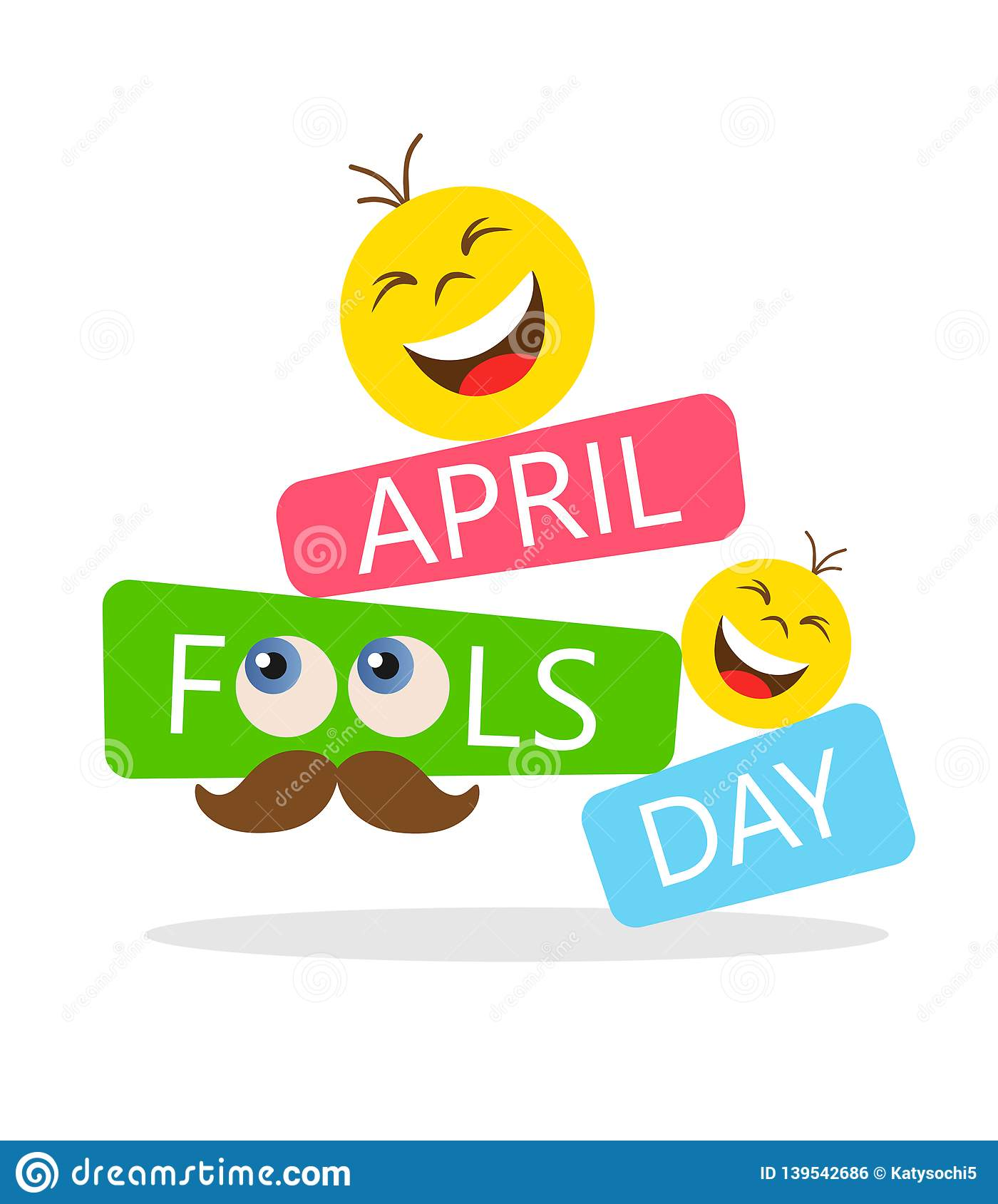 April Fools Day Card With Happy Face Emojis On White Background. Bright  Vector Illustration Stock Vector - Illustration of poster, mustache:  139542686