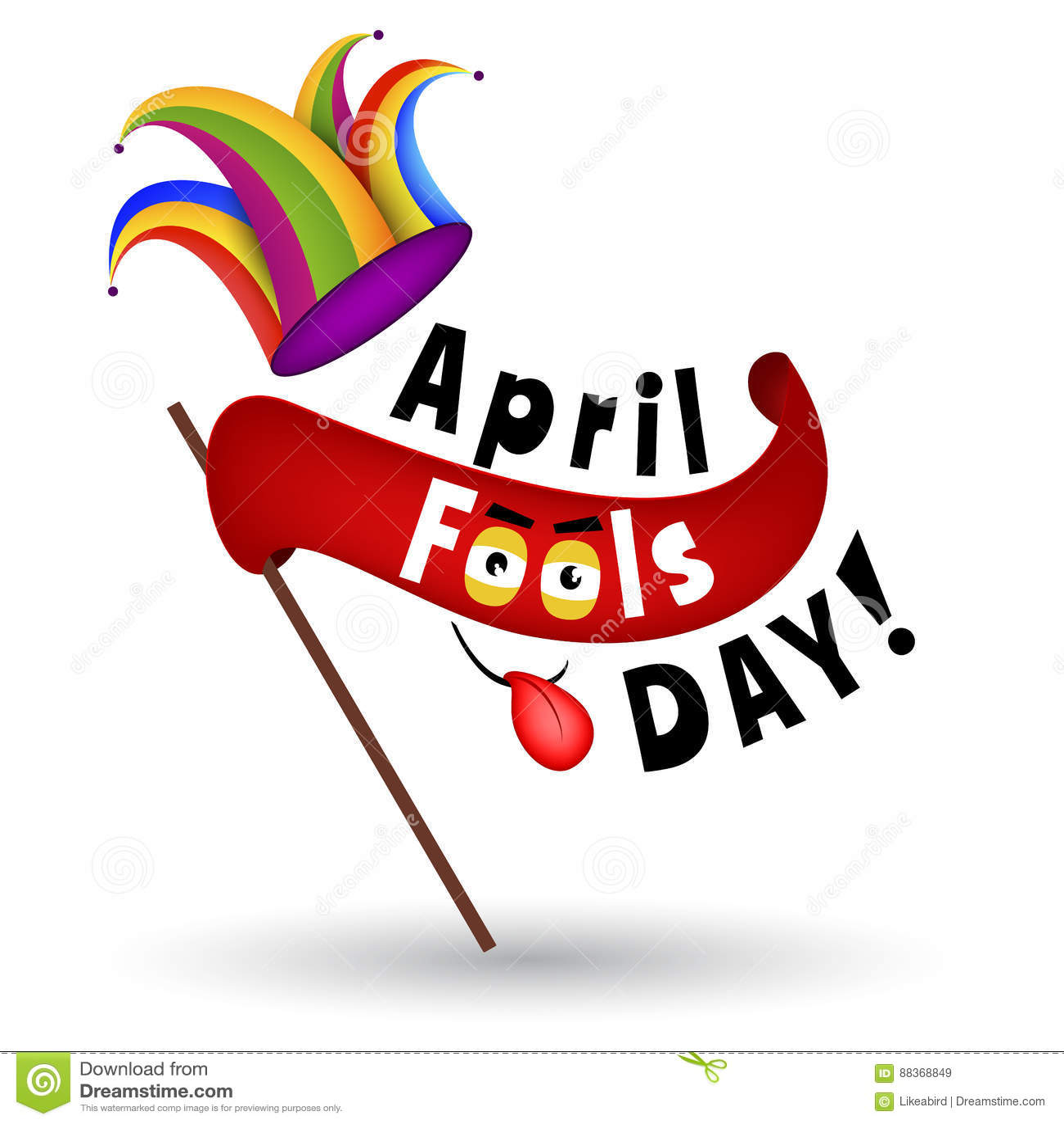April Fools Day Cartoon Illustration Stock Illustratie - Illustration of  gelukkig, dwaas: 88368849
