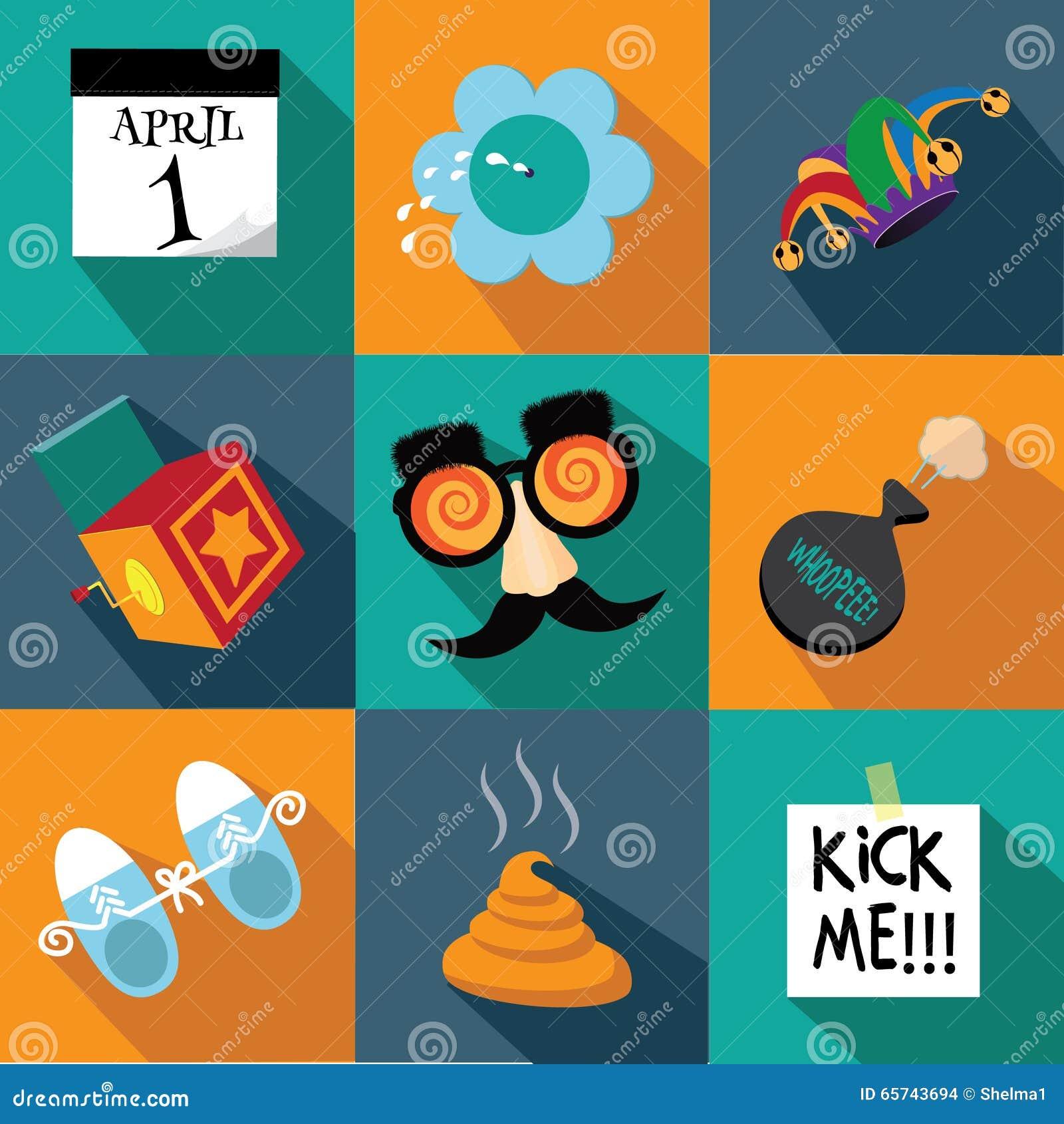 April Fools Day flat design icon set