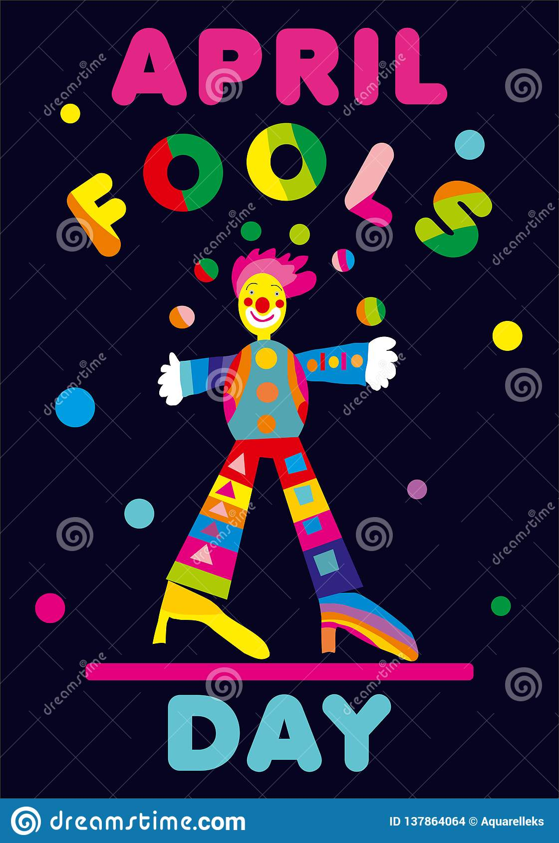 April Fools Day-Gruß mit Jongleur Vervollkommnen Sie für Grußkarte, -fahne oder -anzeige April 1.
