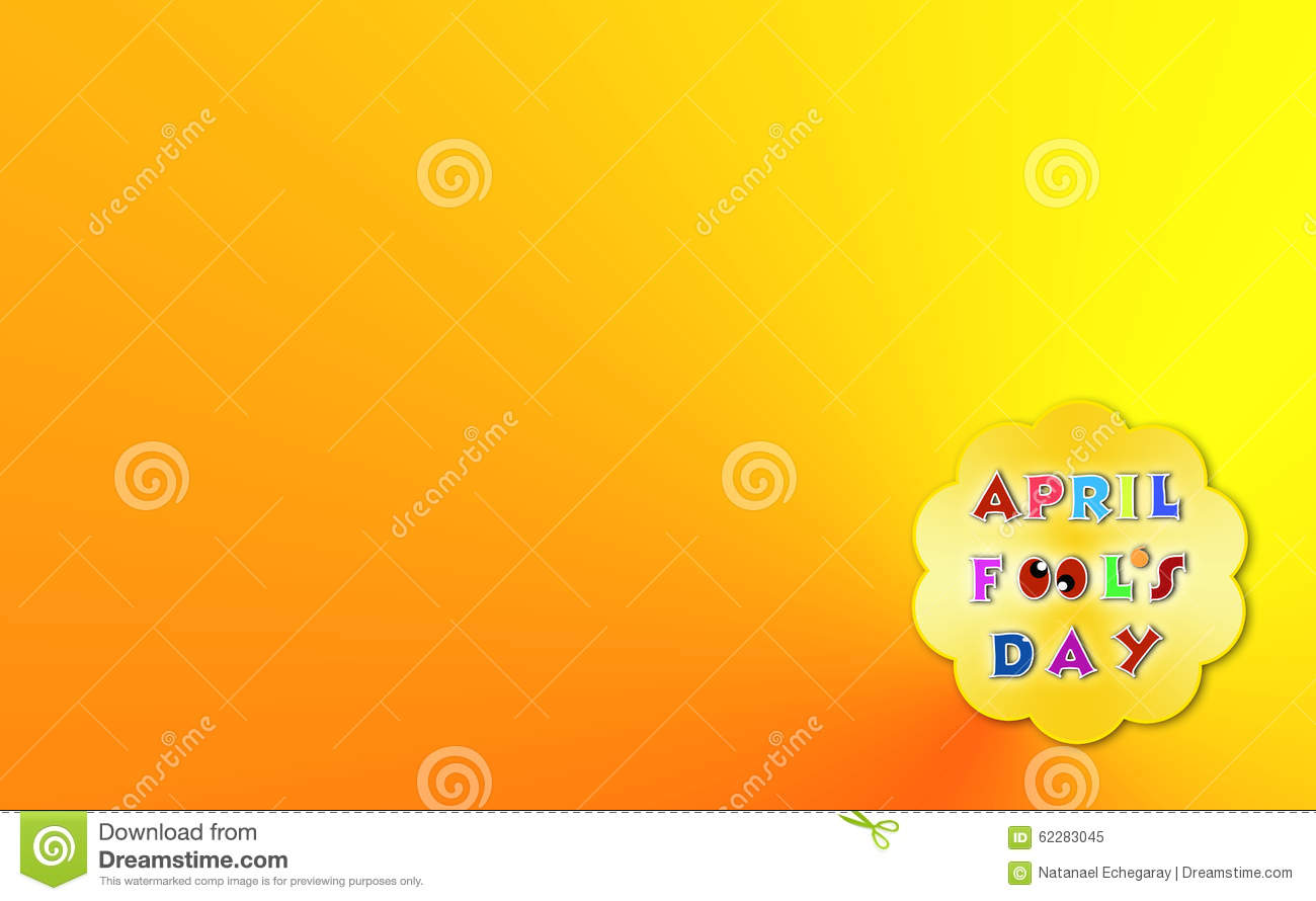 April Fools Day Illustration Over Yellow Background With Text Space Stock Illustration  Image
