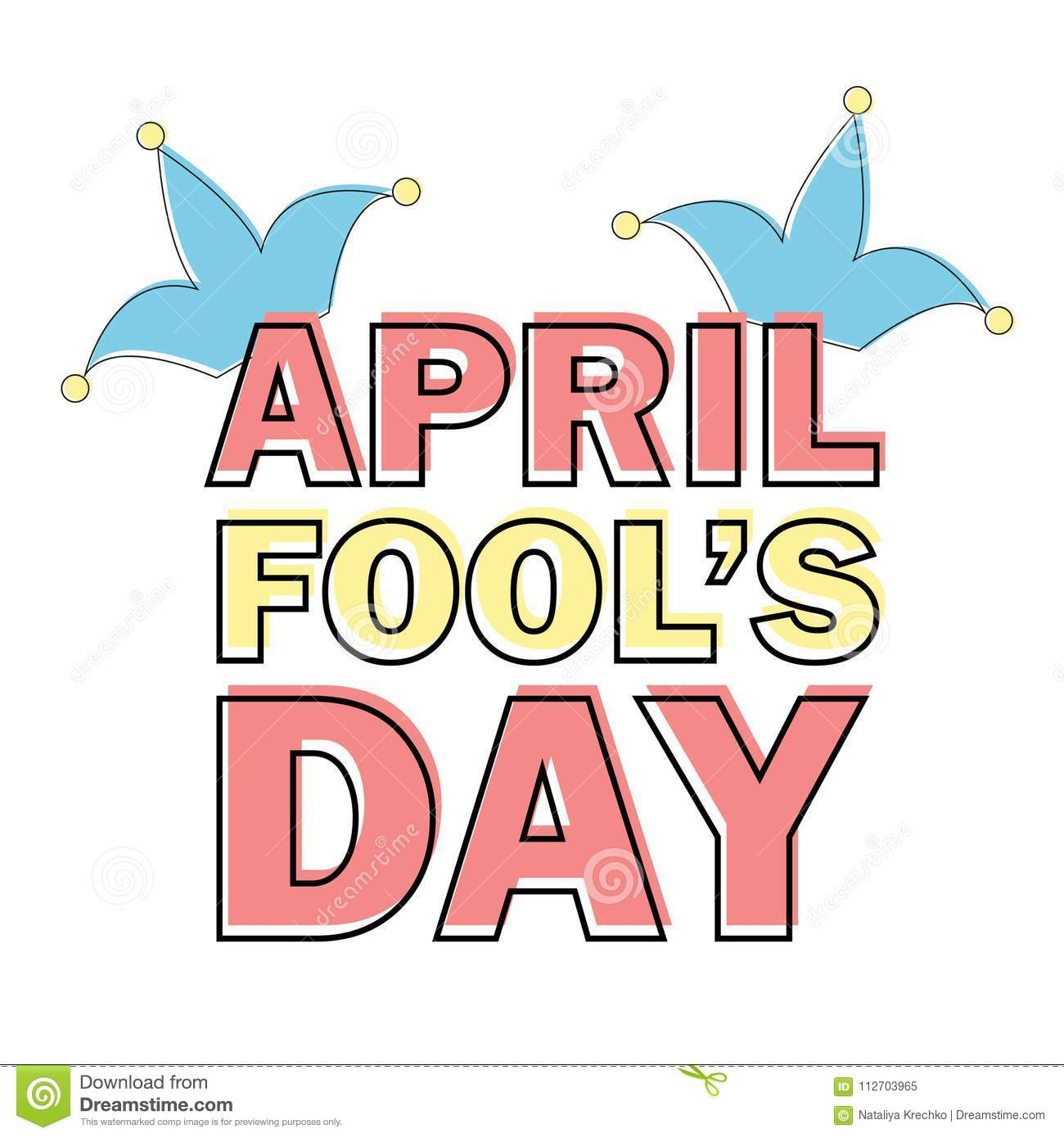 April Fools Day Text And Funny Element Vector Illustration For