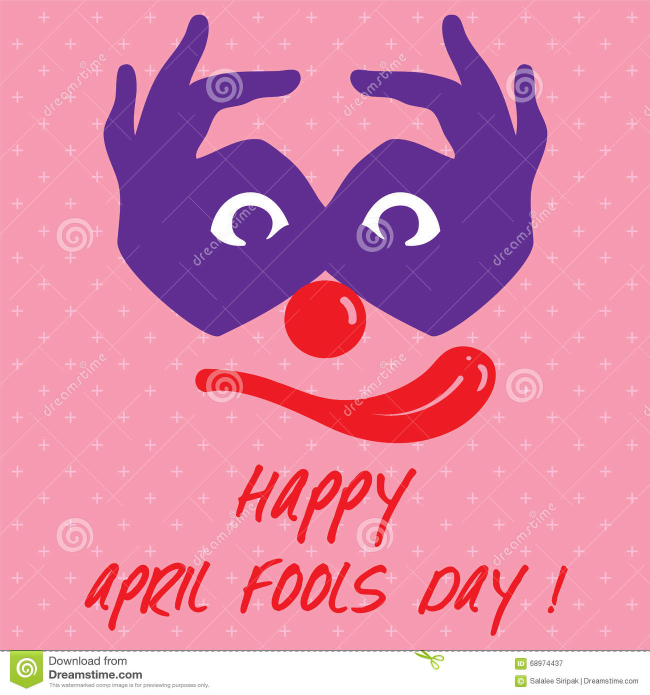 April Fools Day Text And Funny Face Joker Vector Illustration Stock