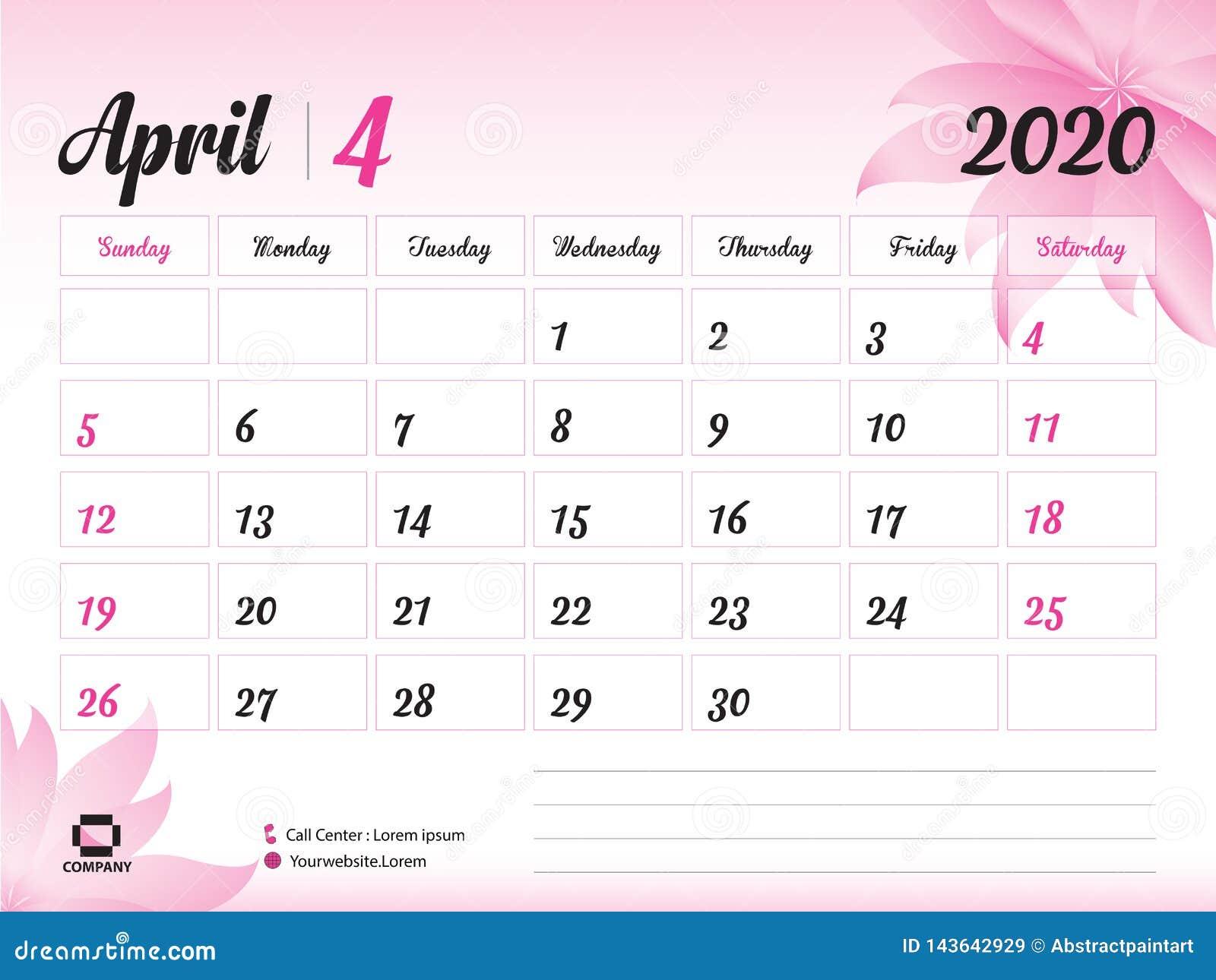 April 2020 Jahr-Schablone, Kalender-2020 Vektor, Tischkalender-Entwurf, rosa Blumenkonzept für Kosmetik, Schönheit, Badekurort, G