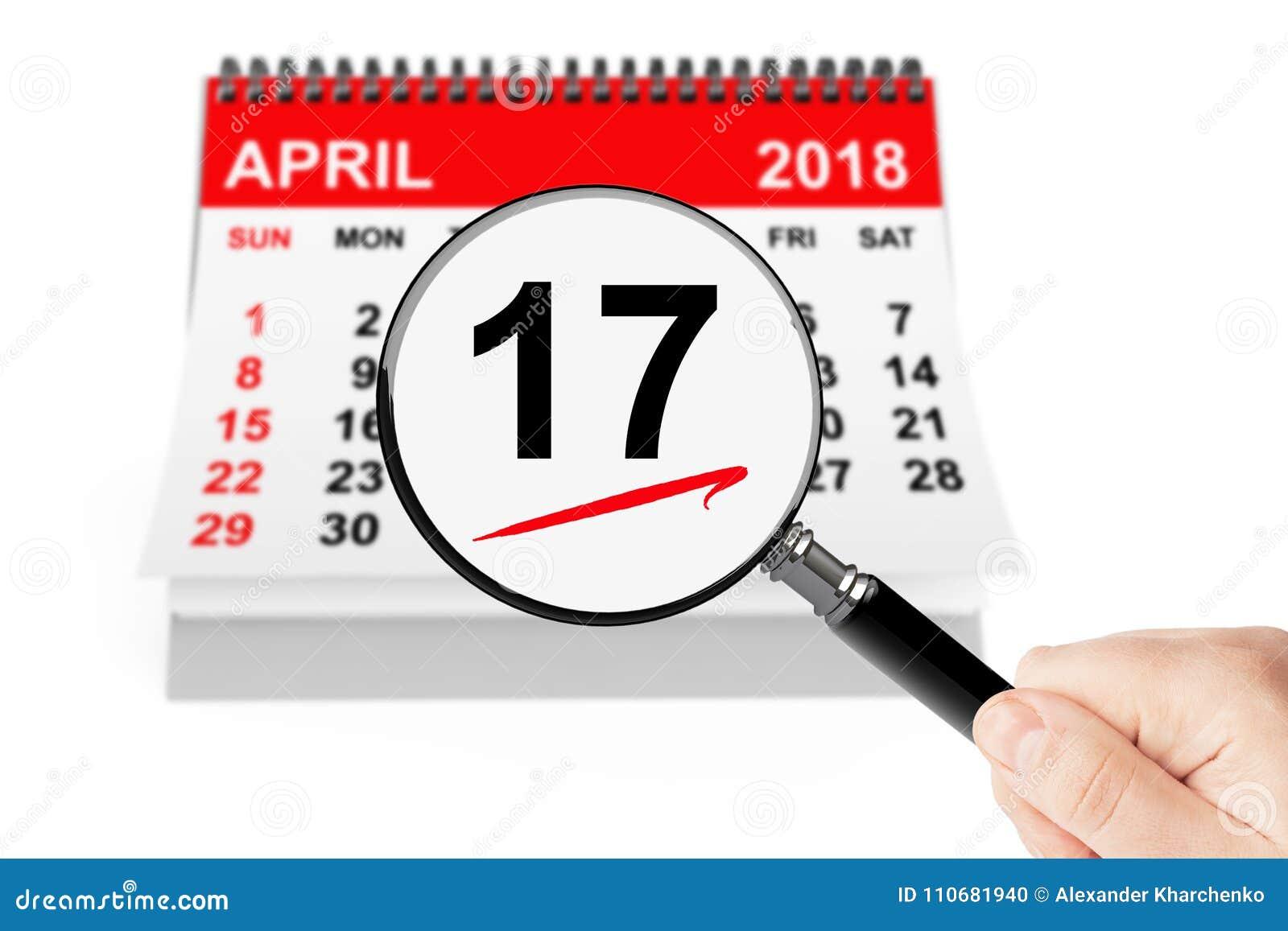 15 april 2013 kalender med förstoringsapparat på en vitbakgrund 17 april 2018 kalender med förstoringsapparaten