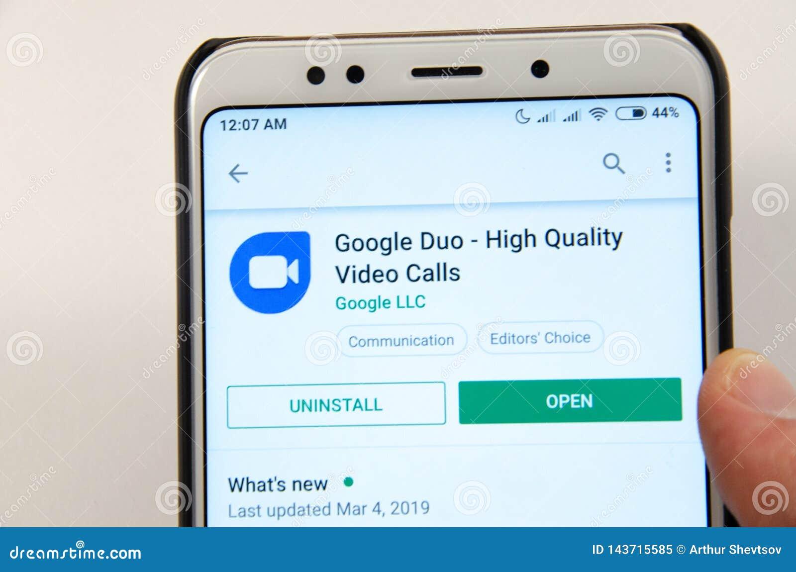 April, 2019. Kramatorsk, Ukraine. Mobile application Google Duo on a white smartphone