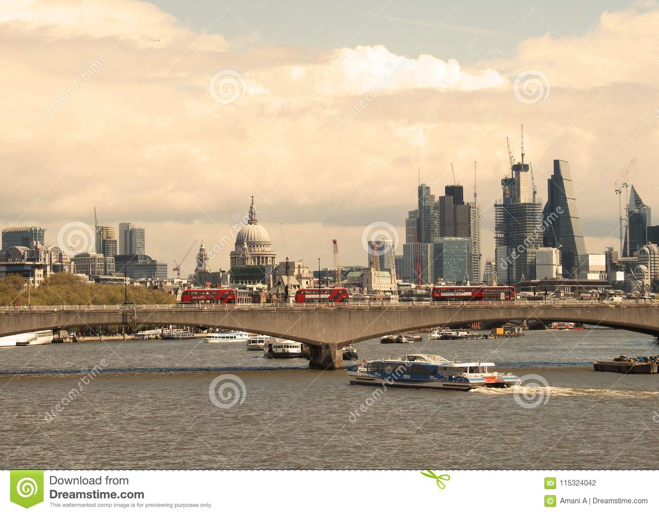 April 2018 London Uk A View Of Waterloo Bridge With The