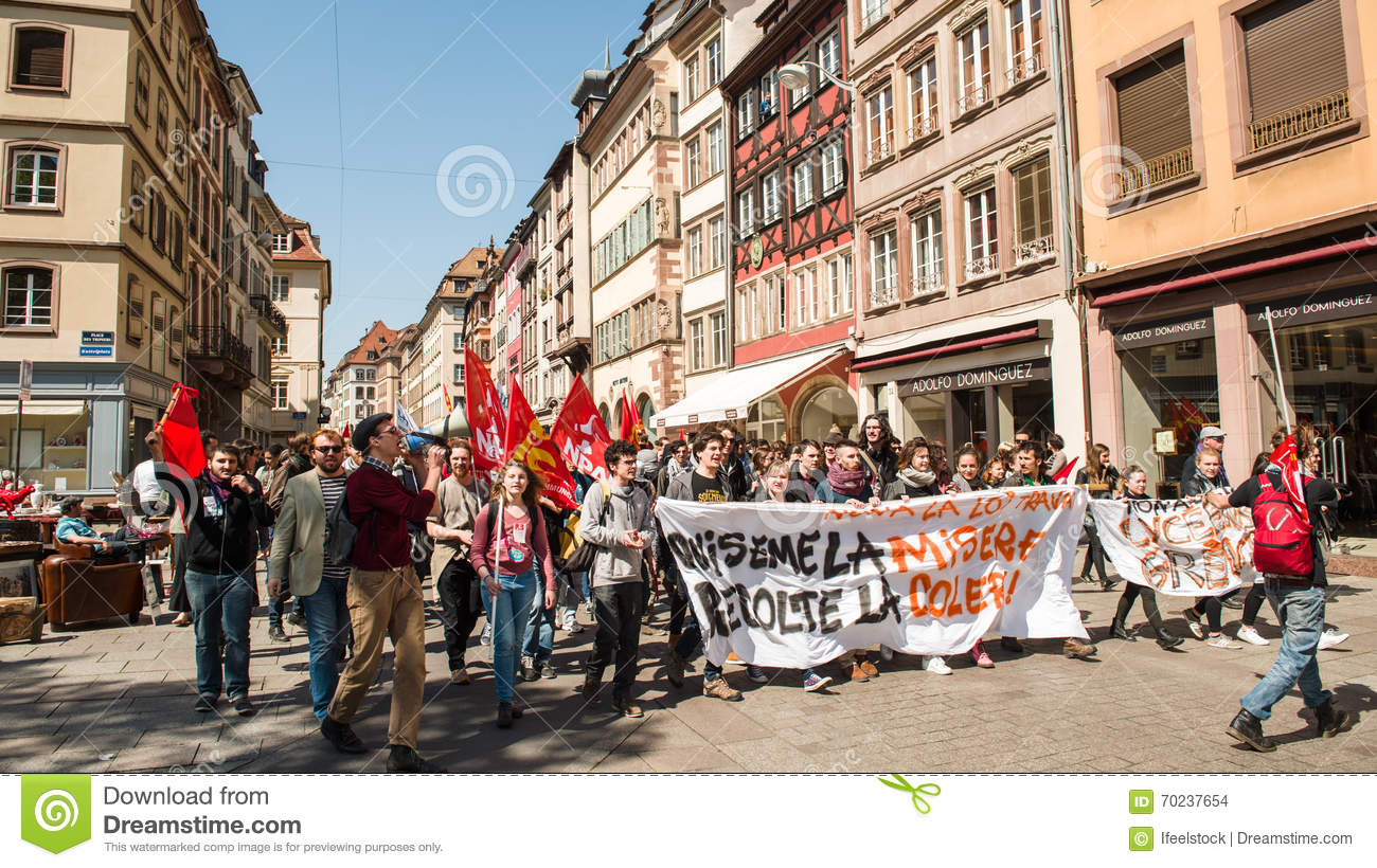 April protest against labour reforms in france editorial for Rue du miroir strasbourg
