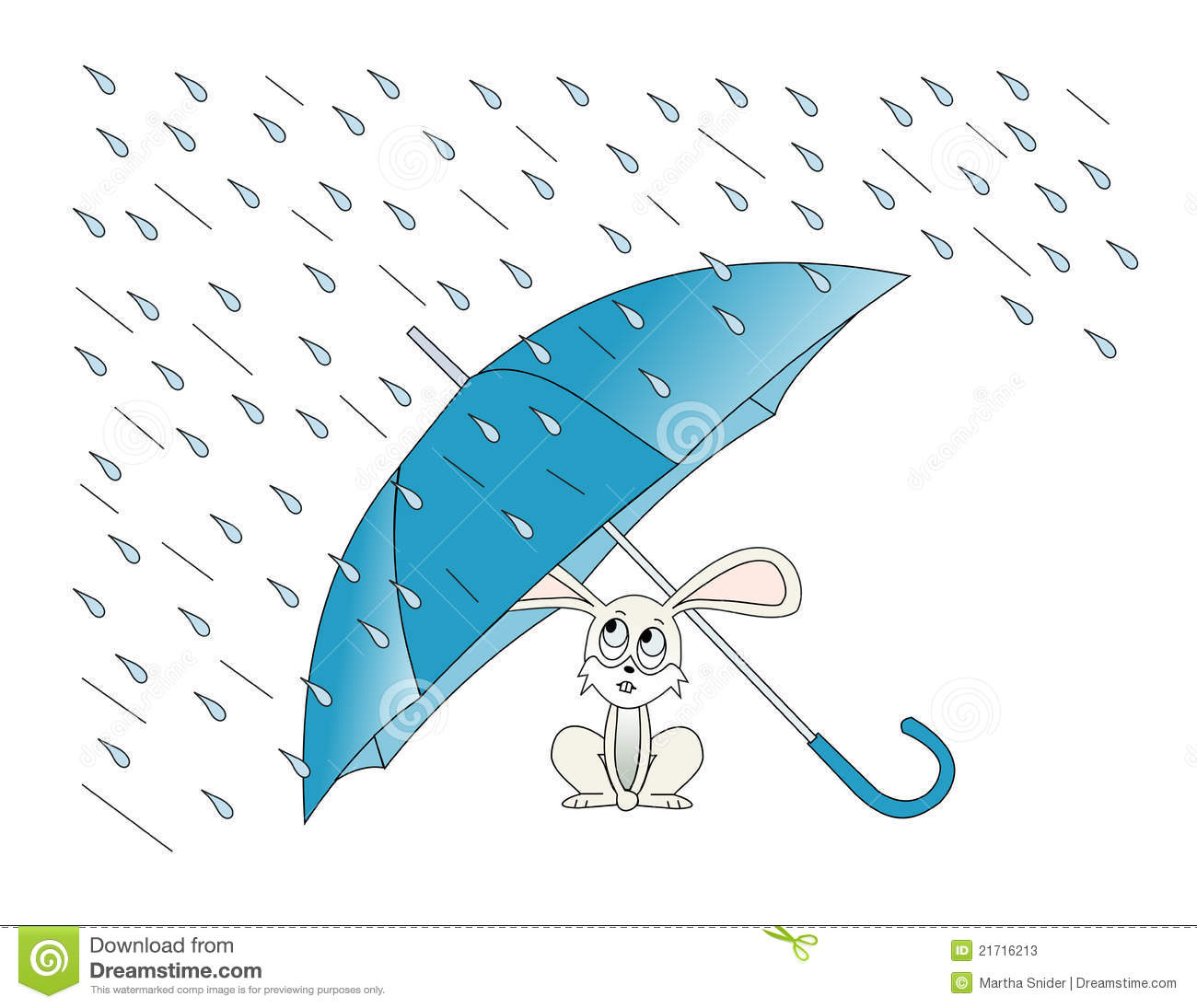 Illustration of a rabbit taking shelter from the rain under an ...