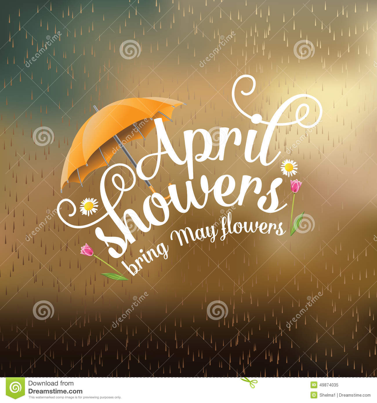 April Showers Bring May Flowers Spring Chalkboard: April Showers Bring May Flowers Design Stock Vector