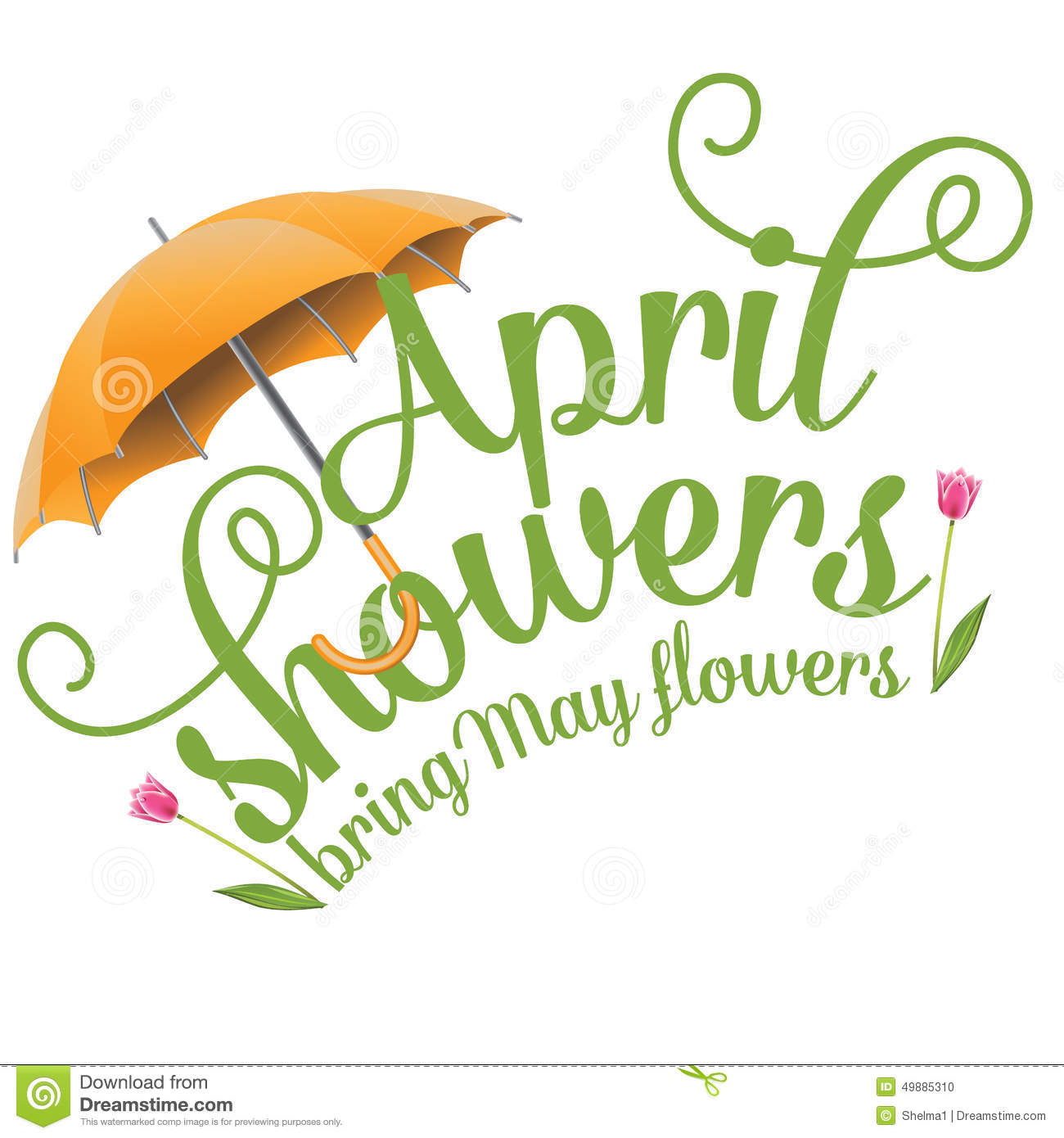 April Showers Bring May Flowers Design Stock Vector - Image: 49885310